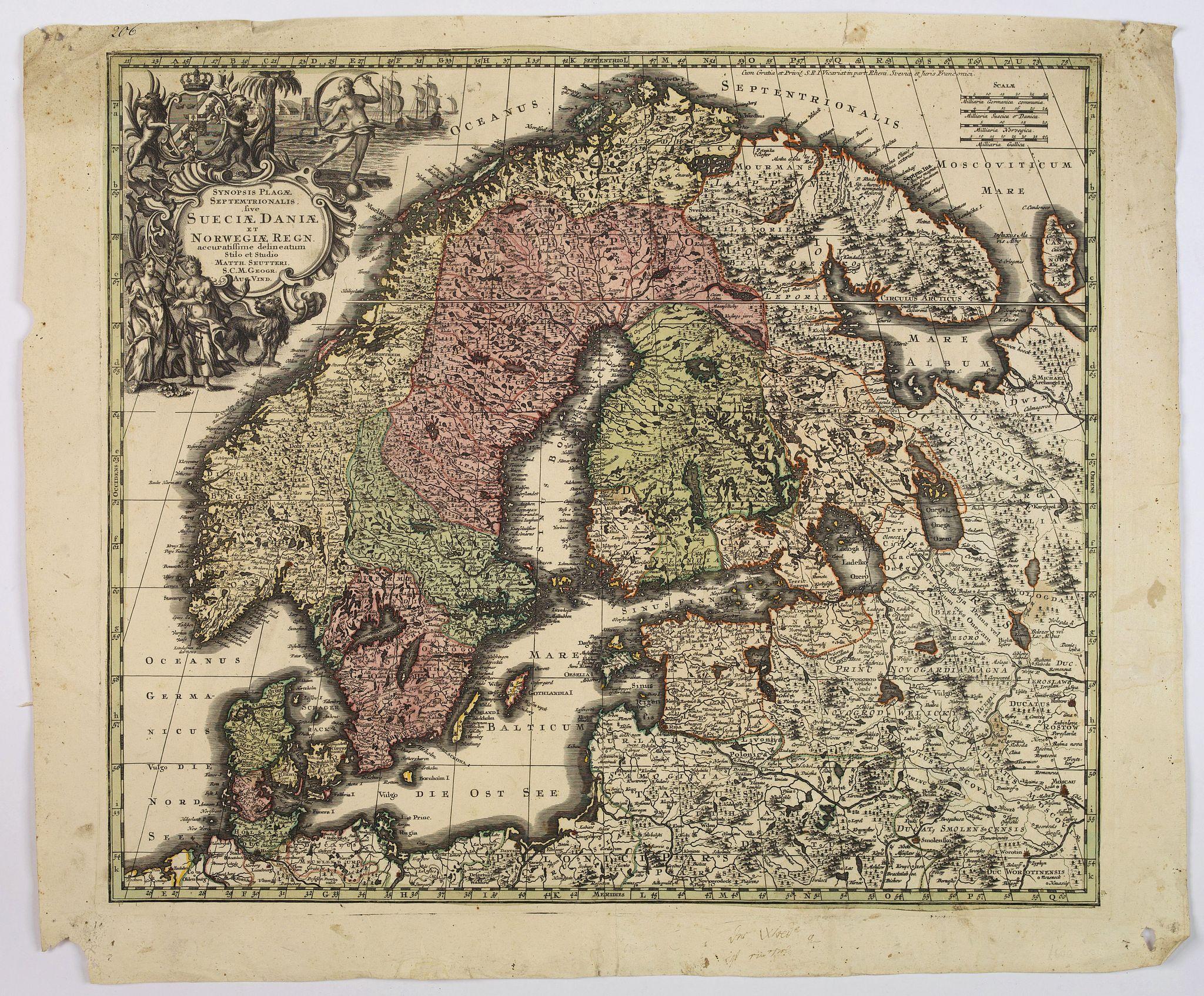SEUTTER, M. -  Synopsis Plagae, Septentrionalis sive Sueciae Daniae, et Norwegiae Regn . . .
