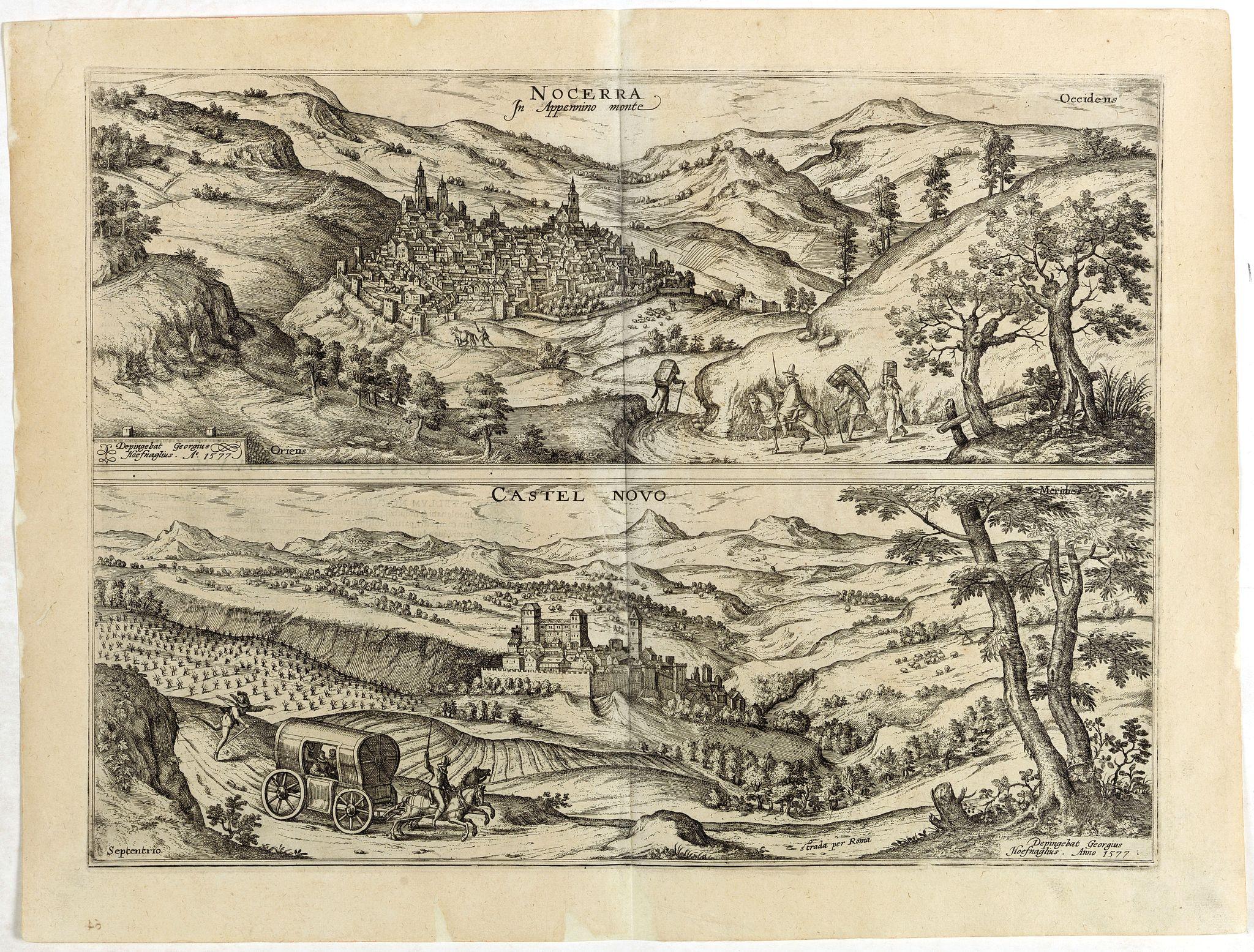 BRAUN, G. / HOGENBERG, F. -  Nocerra In Appennino monte [together on one sheet with]  Castel Novo.