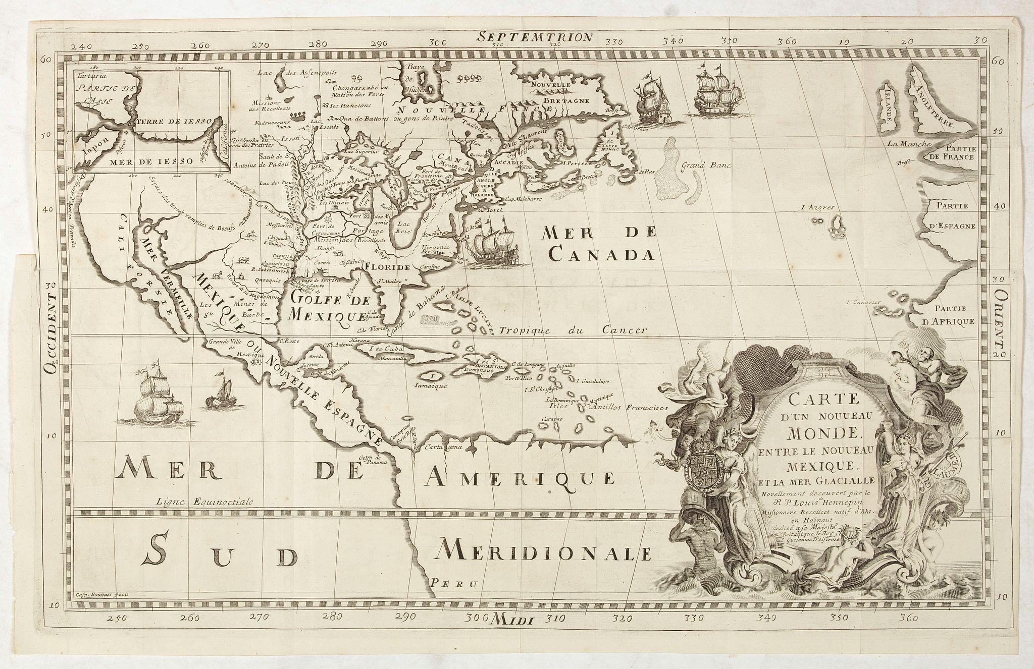HENNEPIN, Louis. -  Carte D'un Nouveau Monde, entre le Nouveau Mexique, et la Mer Glacialle Novellement decouvert par le R.P. Louis Hennepin…