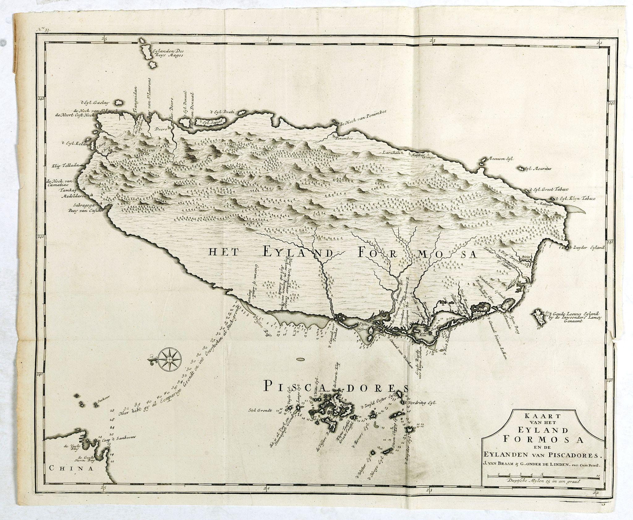 VALENTIJN, F. -  Kaart van het Eyland Formosa en de Eylanden van Piscadores.