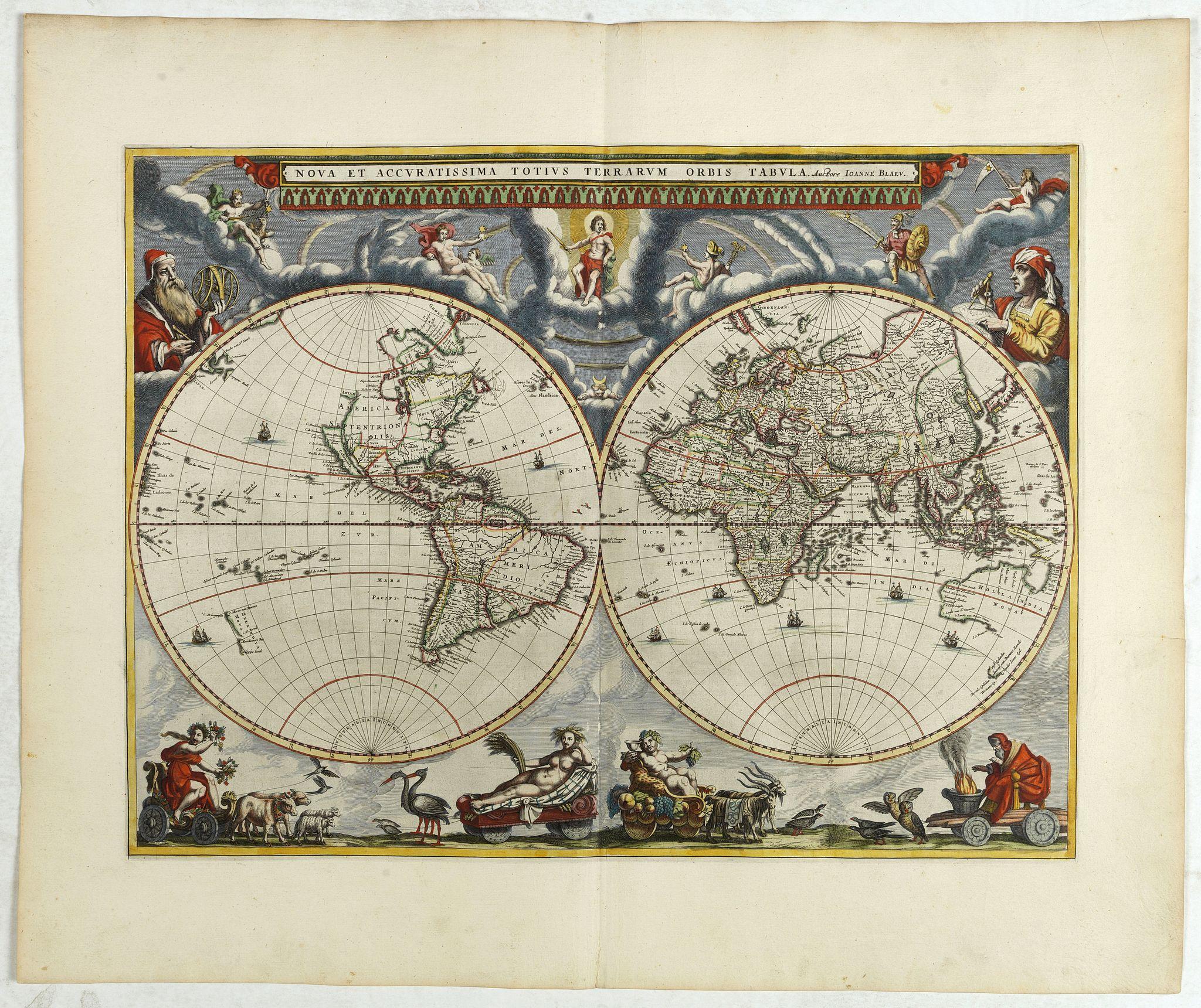 BLAEU, J. -  Nova et Accuratissima Totius Terrarum Orbis Tabula.