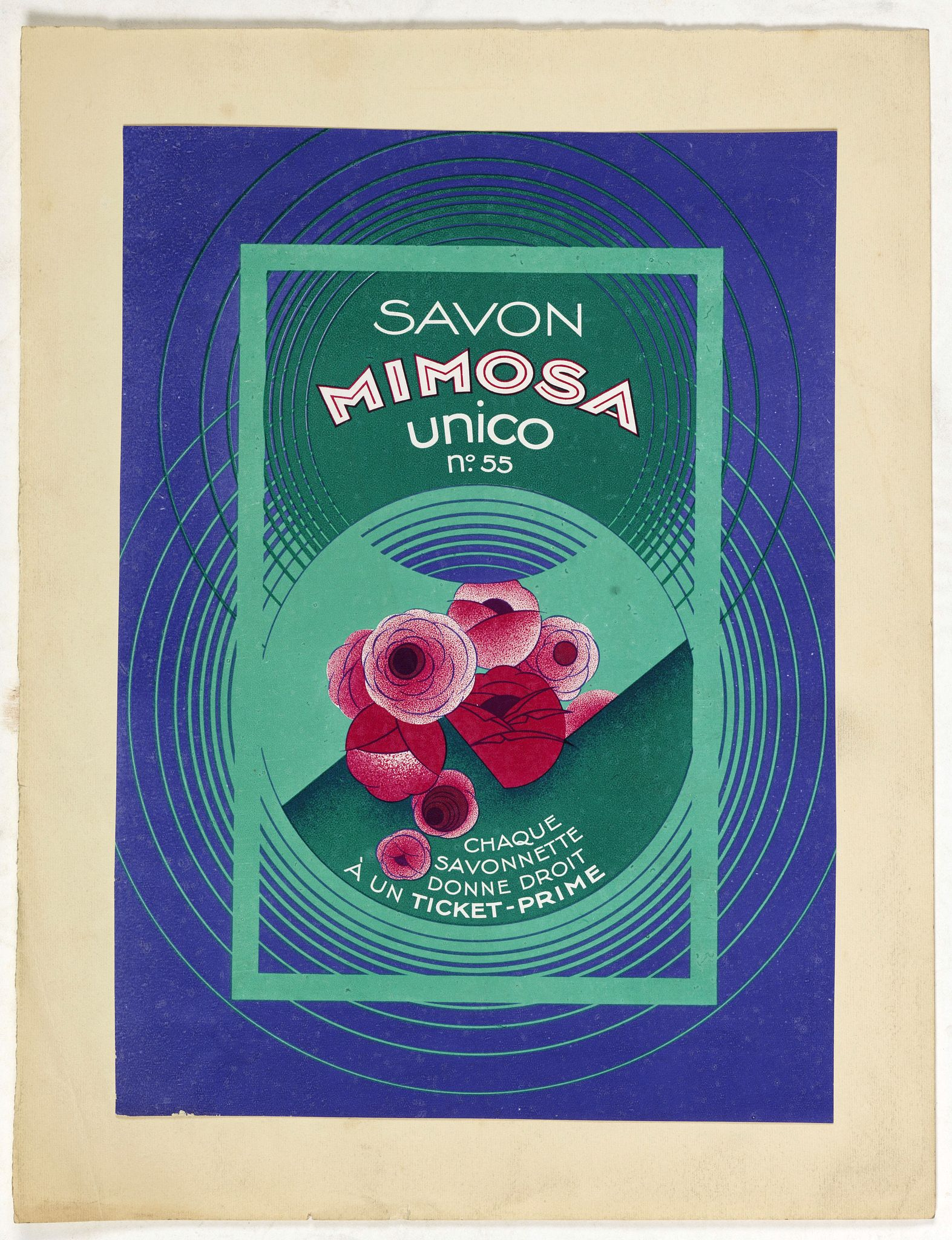 PICHON, Robert (Workshop). -  Art déco mini poster for Savon Mimosa.