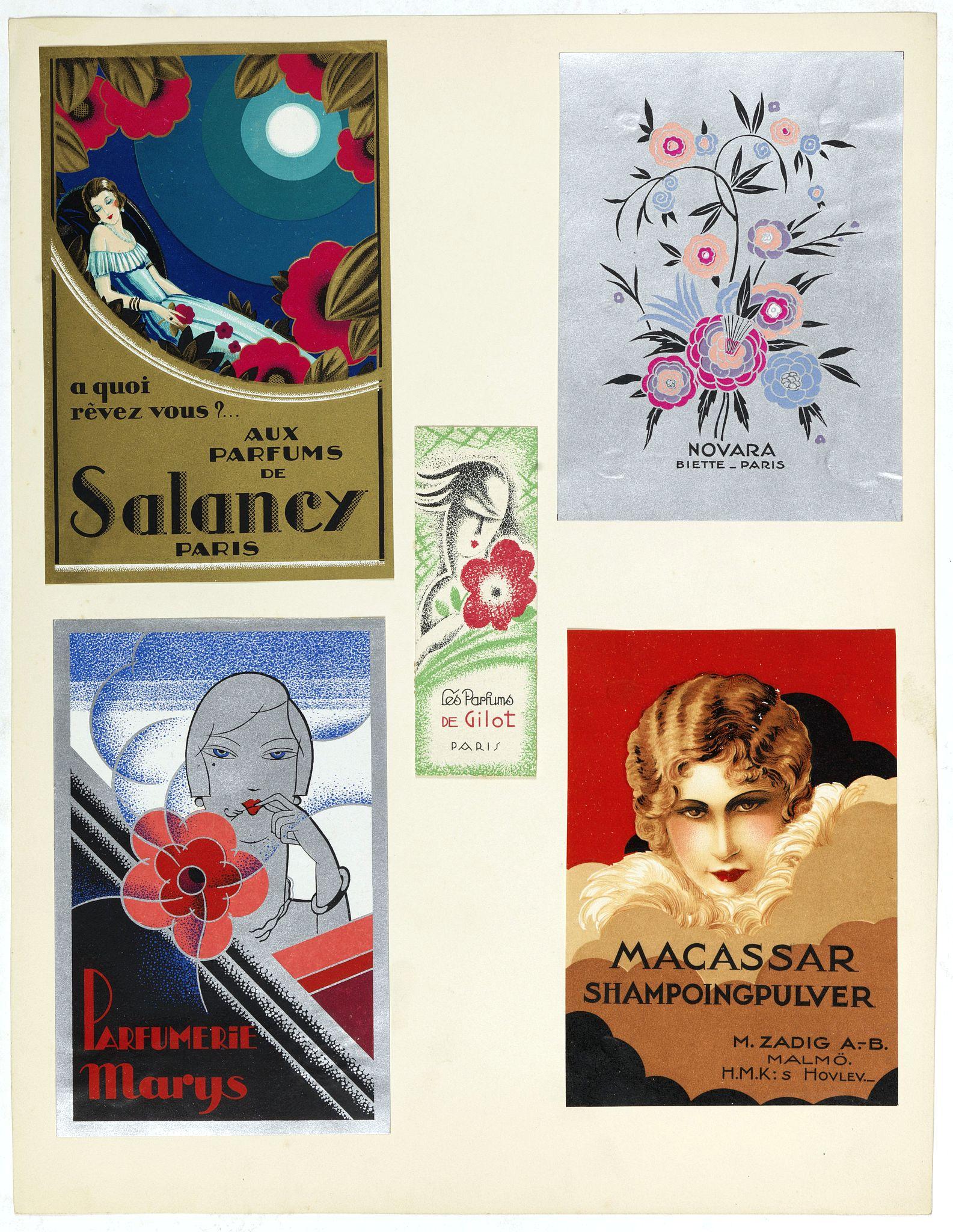 PICHON, Robert (Workshop). -  Five Art déco labels for Salancy, Novara, Parfumerie Marijs, M.Zadig, Paris.