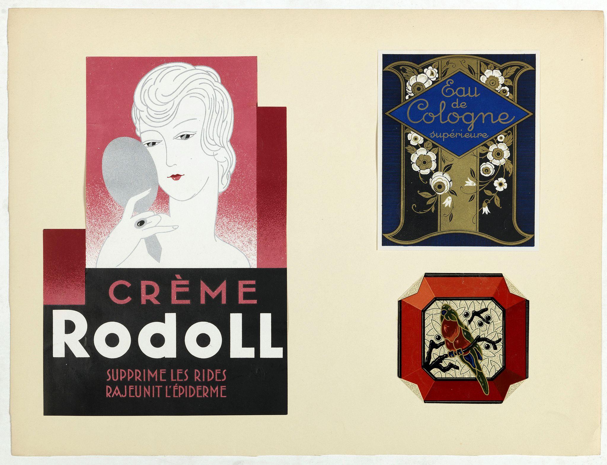 PICHON, Robert (Workshop). -  Labels for Crème Rodol, Eau de Cologne supérieure. . .