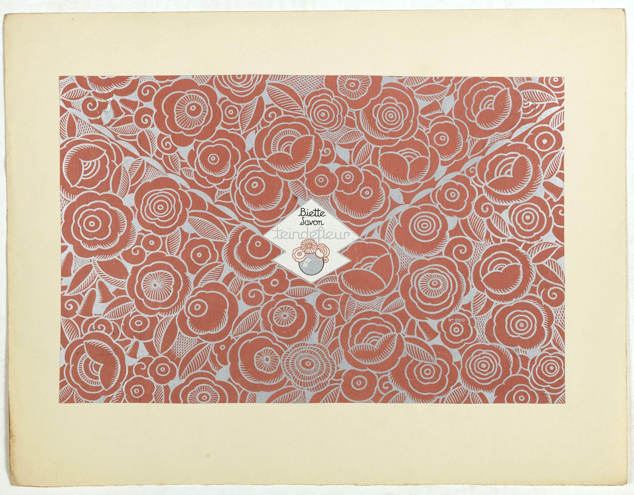 PICHON, Robert (Workshop). -  Art déco label  Biette Savon - Tein de fleur.