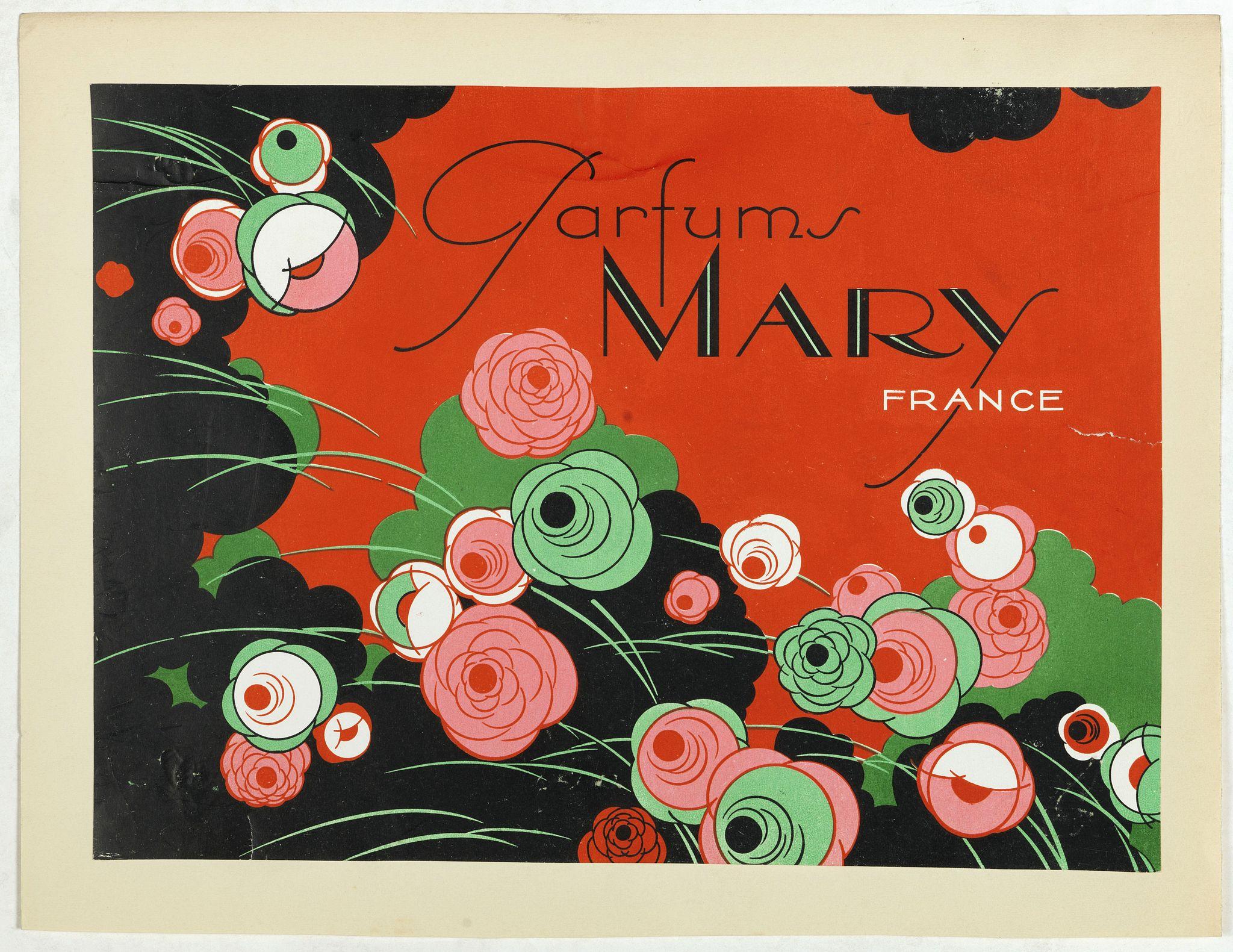 PICHON, Robert (Workshop). -  Art déco label for Parfum Mary France.