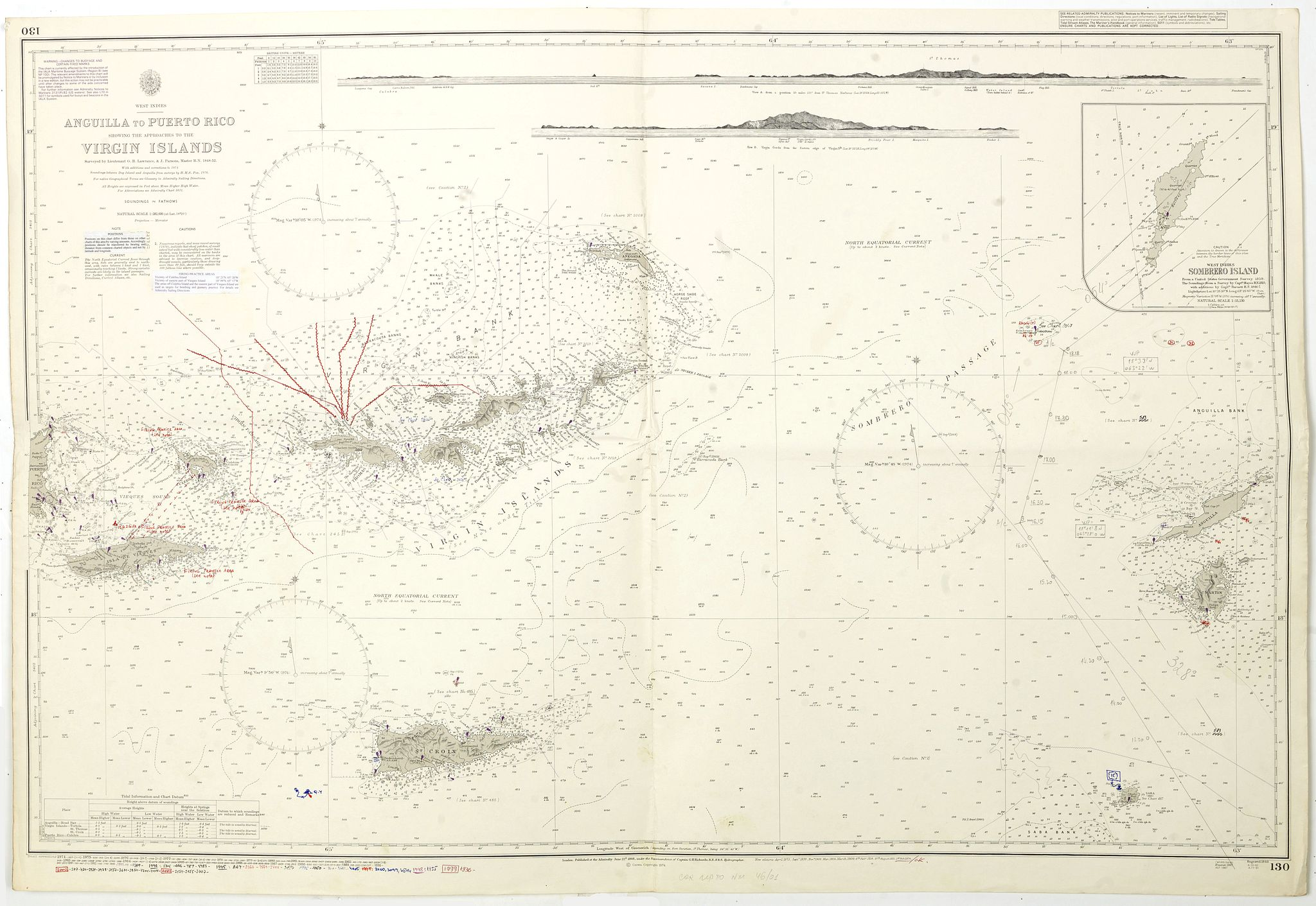HYDROGRAPHIC OFFICE OF THE ADMIRALTY. -  West Indies Anguilla to Puerto Rico showing the approaches to the Virgin Islands . . .