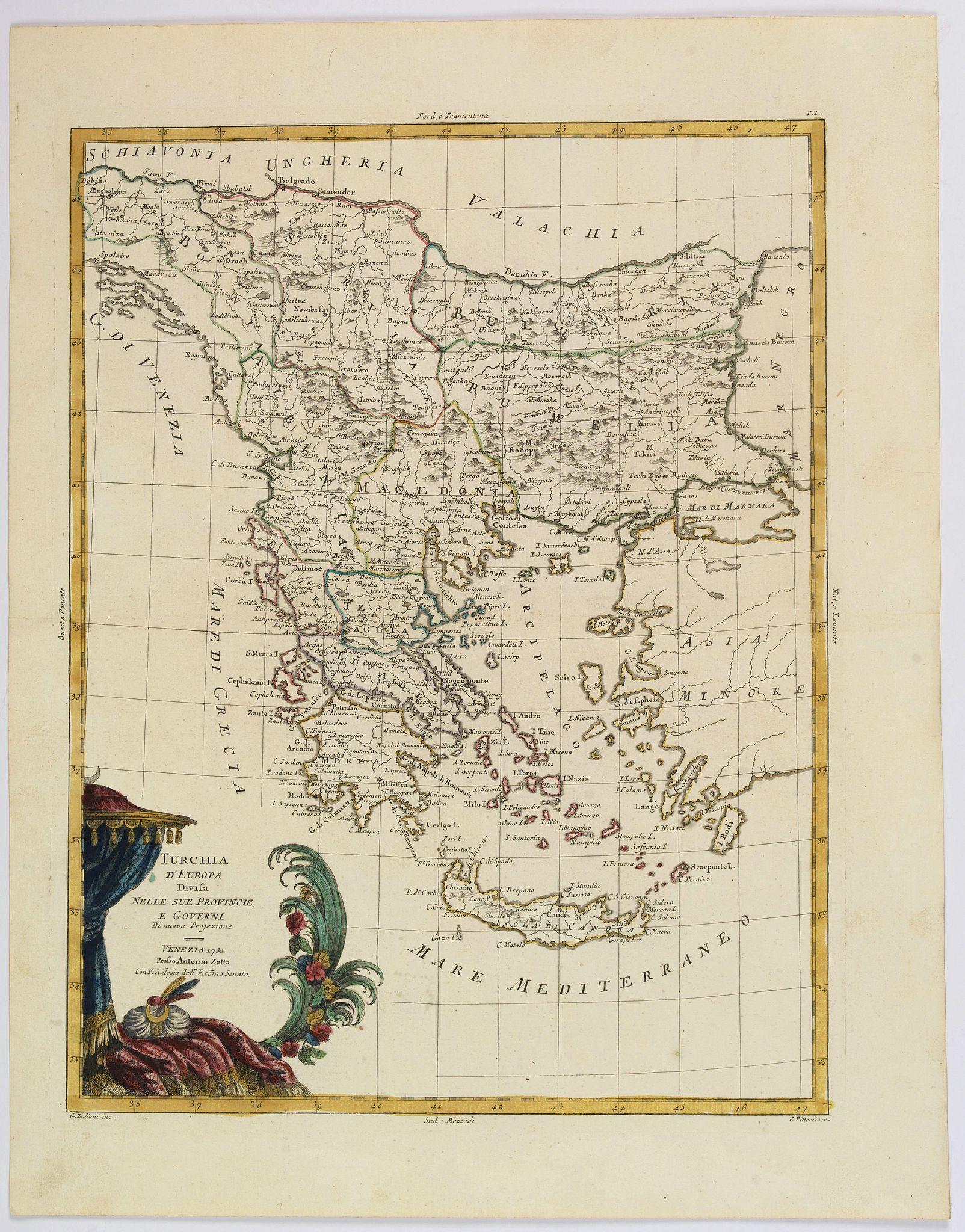 ZATTA, A. -  Turchia d'Europa divisa Nelle Sue Provincie, e Governi. . .