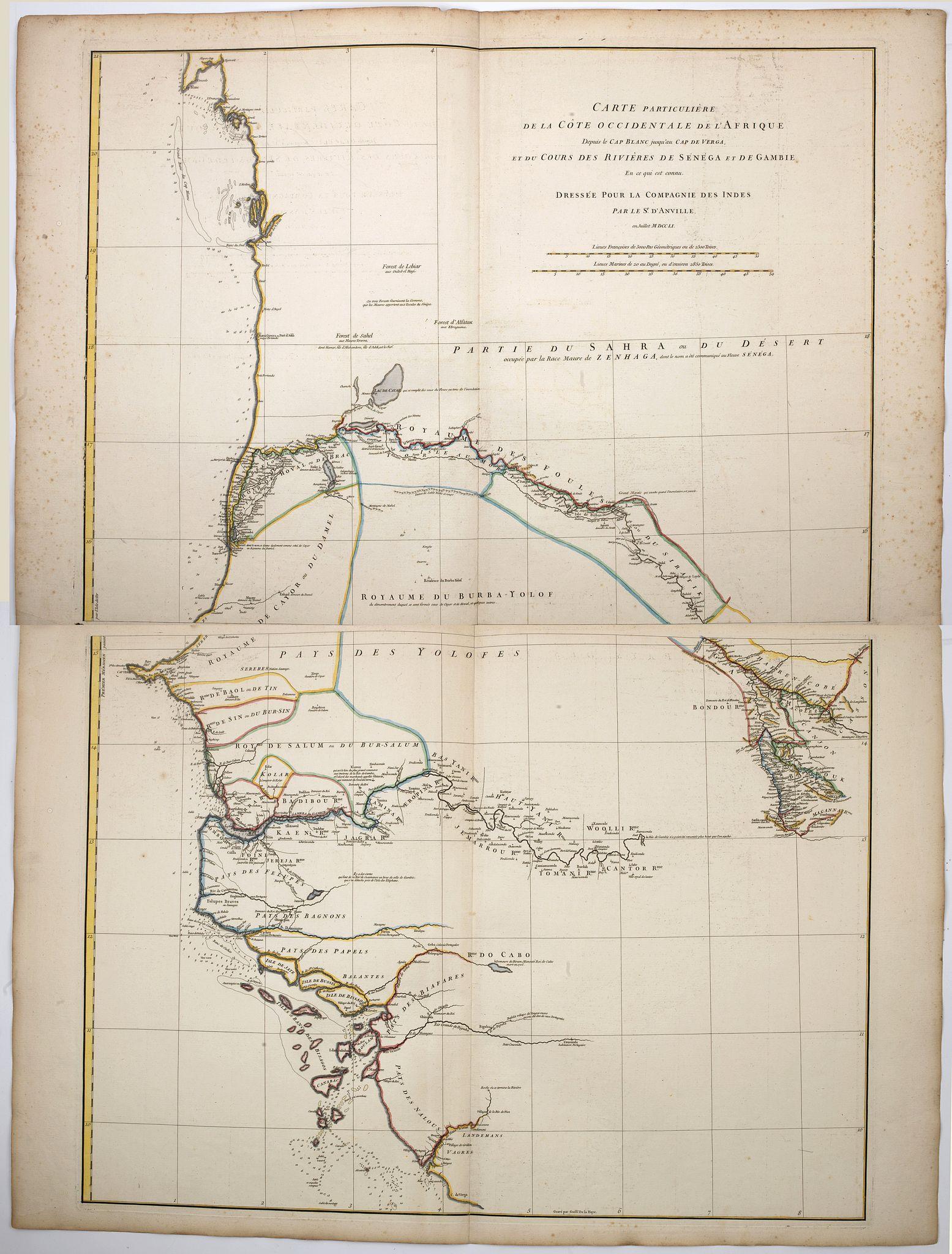 D'ANVILLE, J.B.B. -  [2 sheets] Carte particuliere de la Cote Occidentale de l'Afrique…