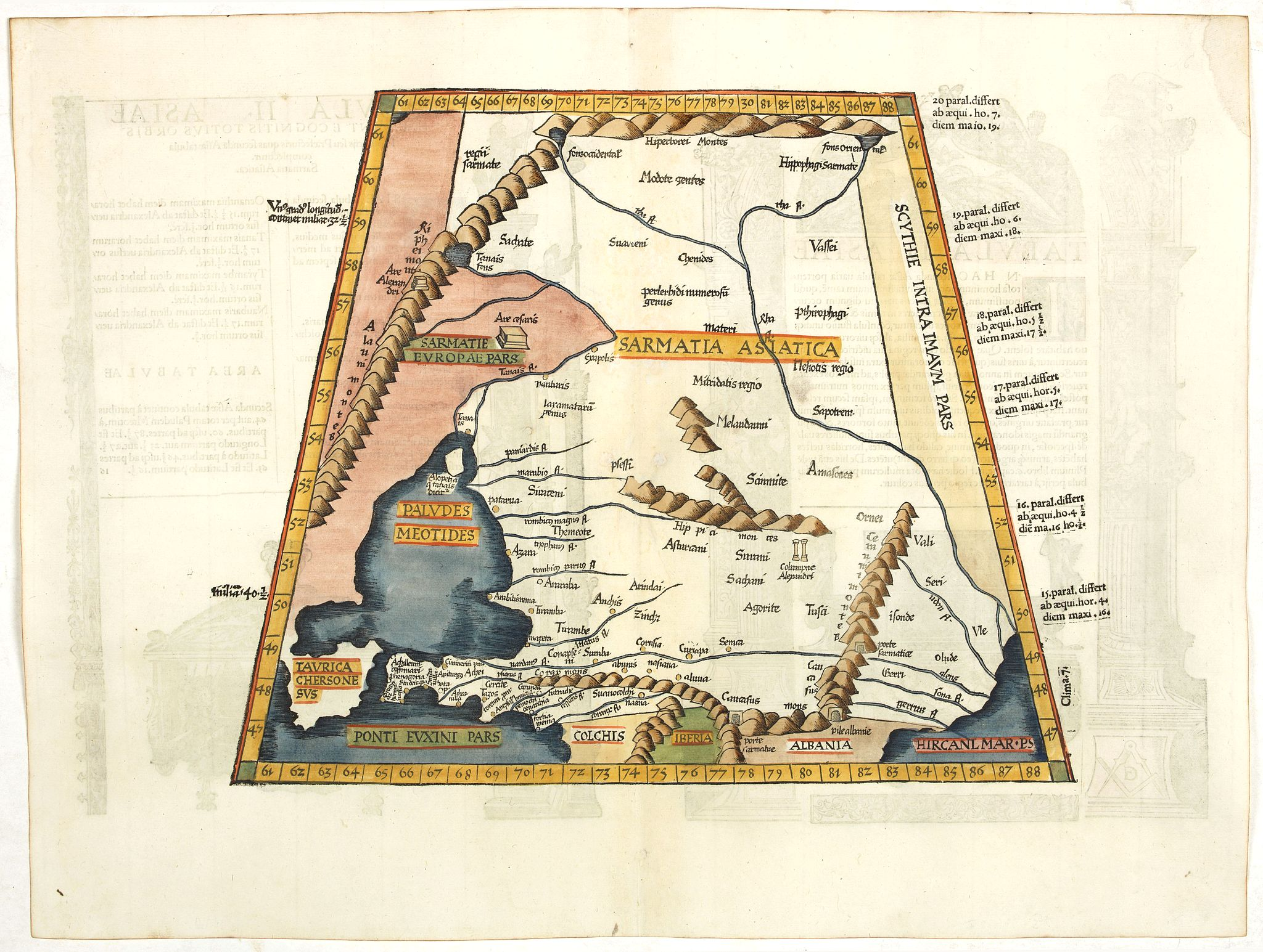 PTOLEMY / FRIES, L.,  Tabula  II Asiae., antique map, old maps
