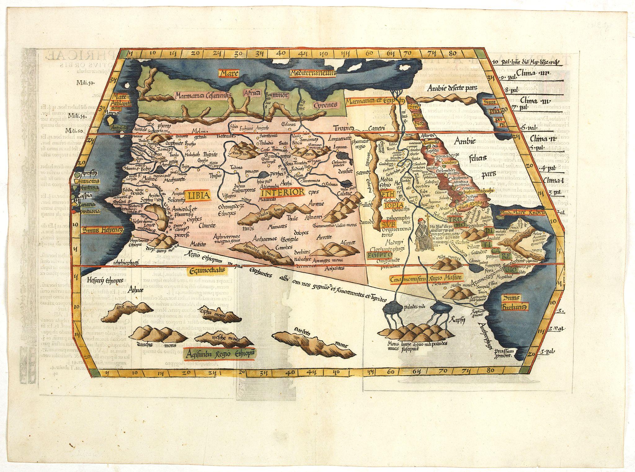 PTOLEMY, C. / FRIES, L. -  Tabula IIII Aphricae. [with Prester John]