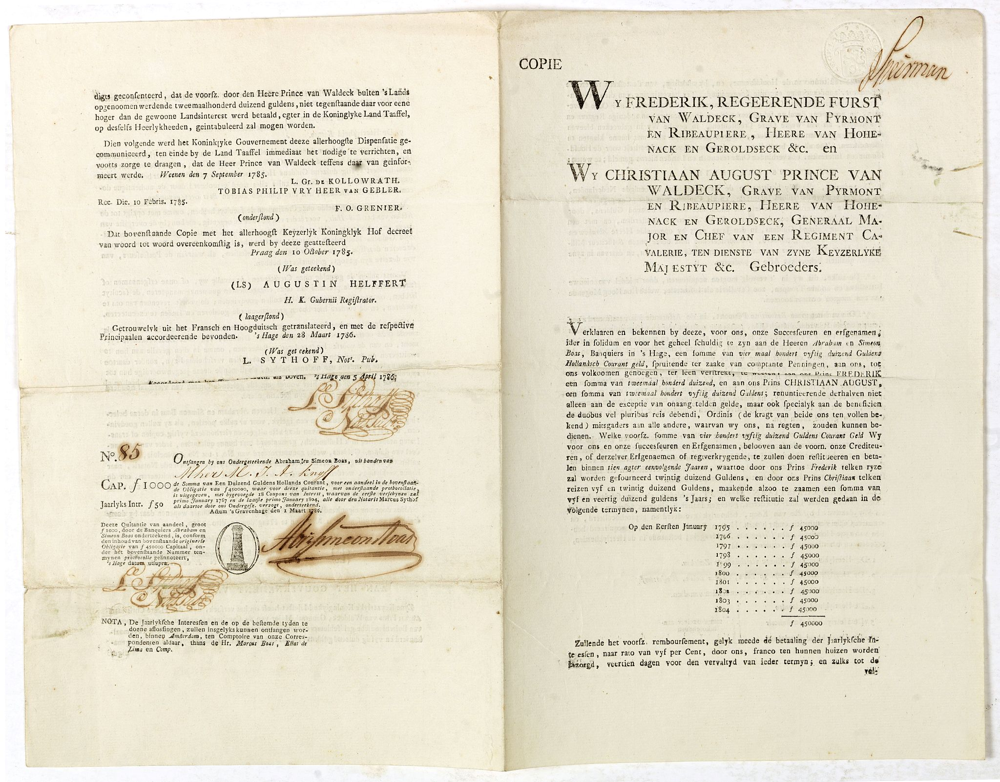 BOAS, A. / S.,  Bond and 9 coupons # 85 against a one year interest of 1000 Dutch Florins by Frederik ruler of Waldeck., antique map, old maps