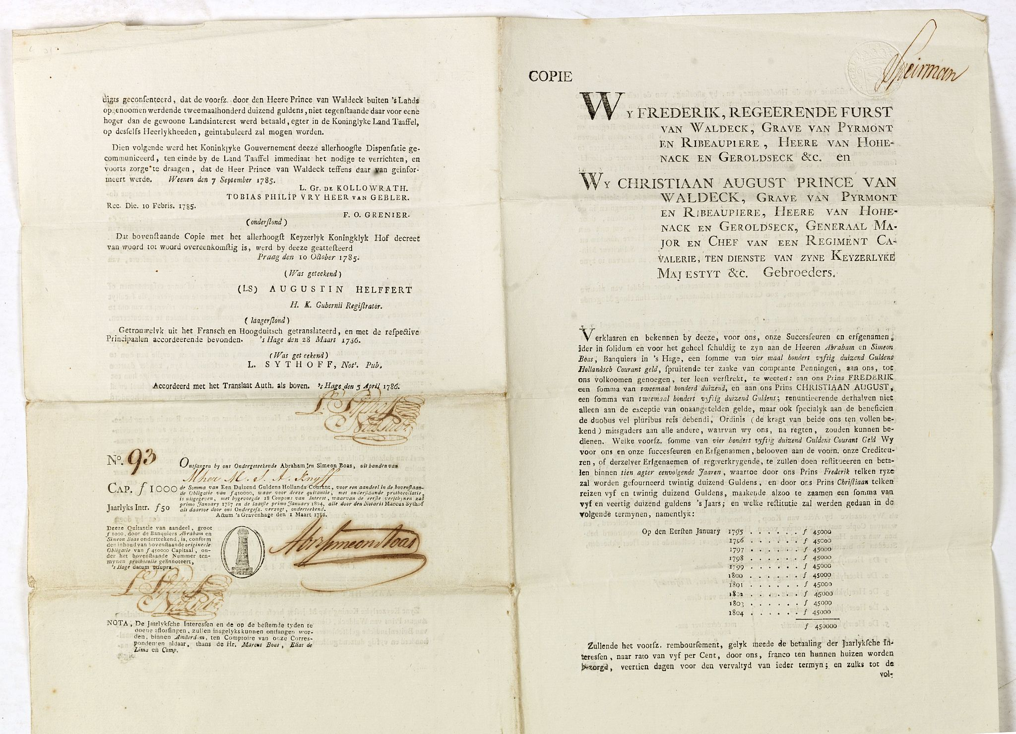 BOAS, A. / S.,  Bond and 8 coupons # 93 against a one year interest of 1000 Dutch Florins by Frederik ruler of Waldeck., antique map, old maps