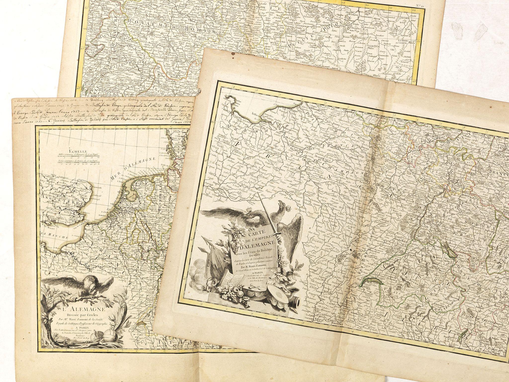 RIZZI ZANONI, G.A.B. - [Set of 3 maps] L'Allemagne divisée par cercles . . . / Carte de l'Empire d'Allemagne . . . / No title map.
