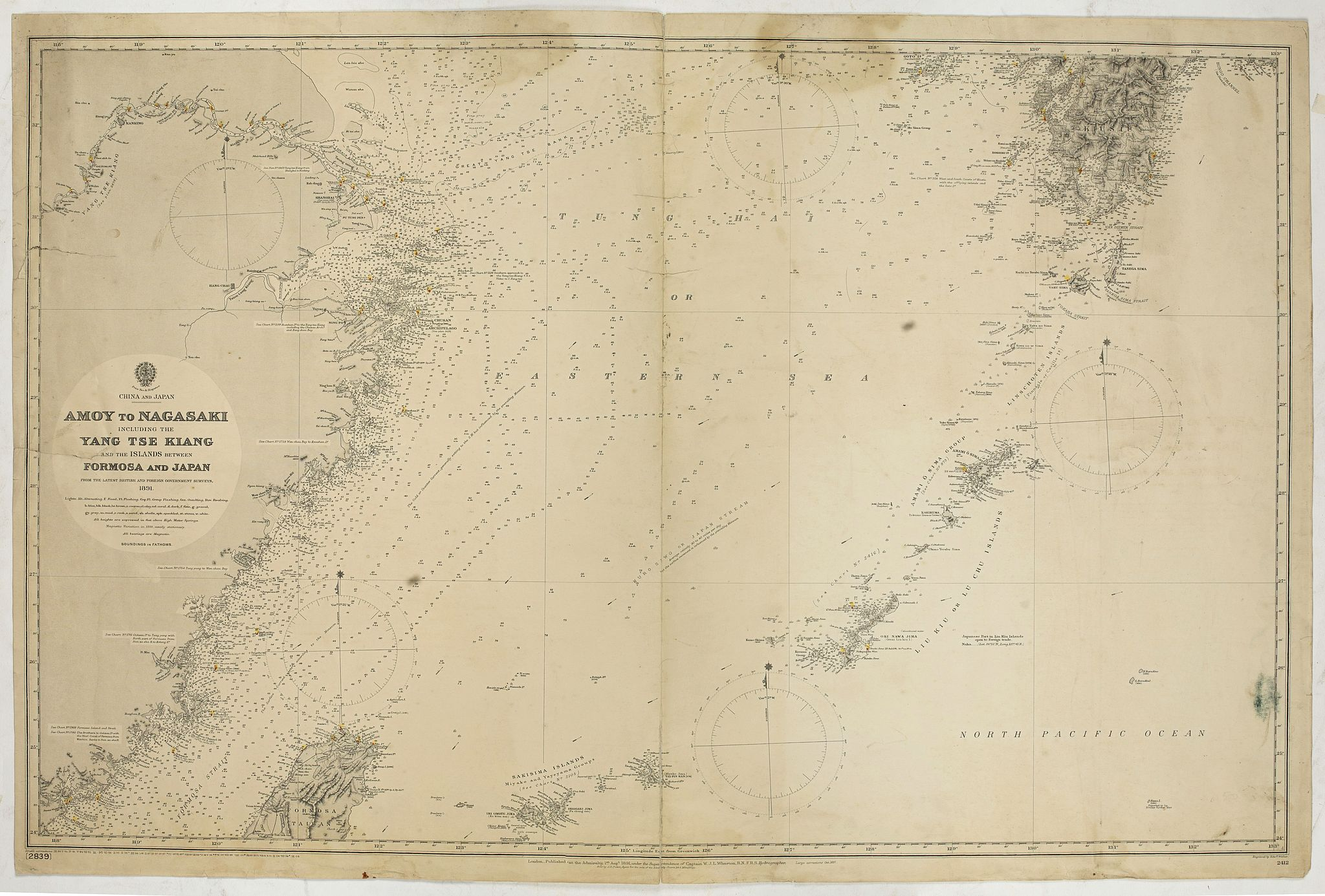 THE HYDROGRAPHIC OFFICE OF THE ADMIRALTY -  China & Japan - Amoy to Nagasaki including the Yang Tse Kiang and the Islands between Formosa and japan..