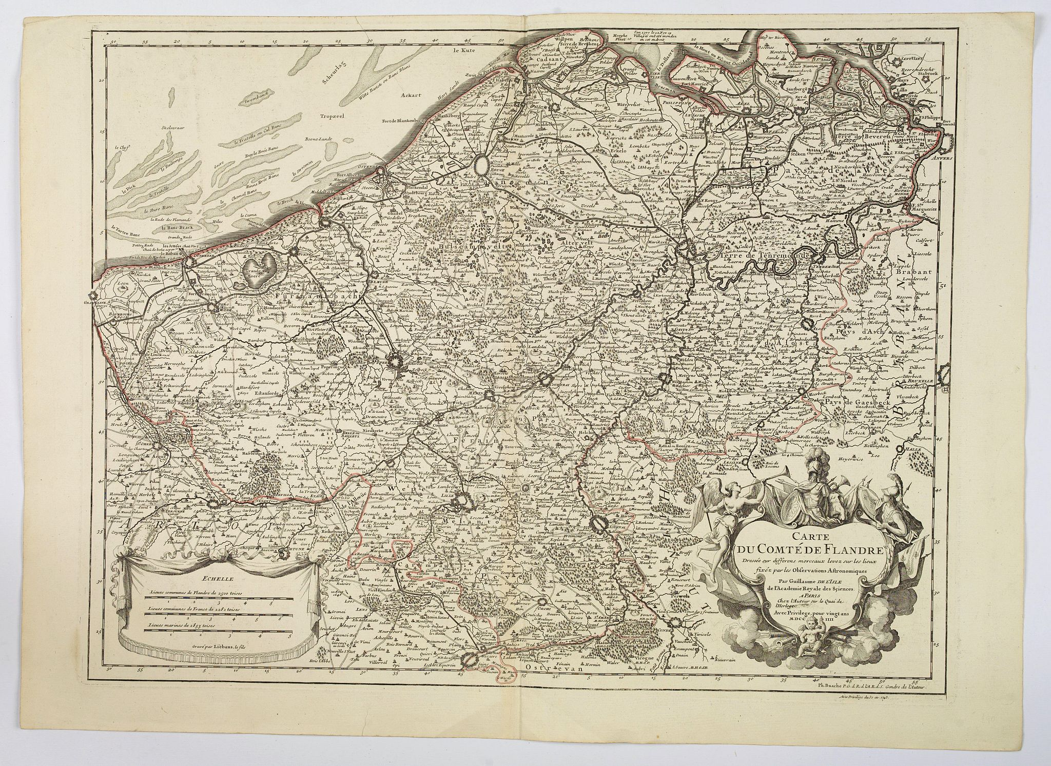 DELISLE / BUACHE / DEZAUCHE.,  Carte du Comte de Flandre. . ., antique map, old maps