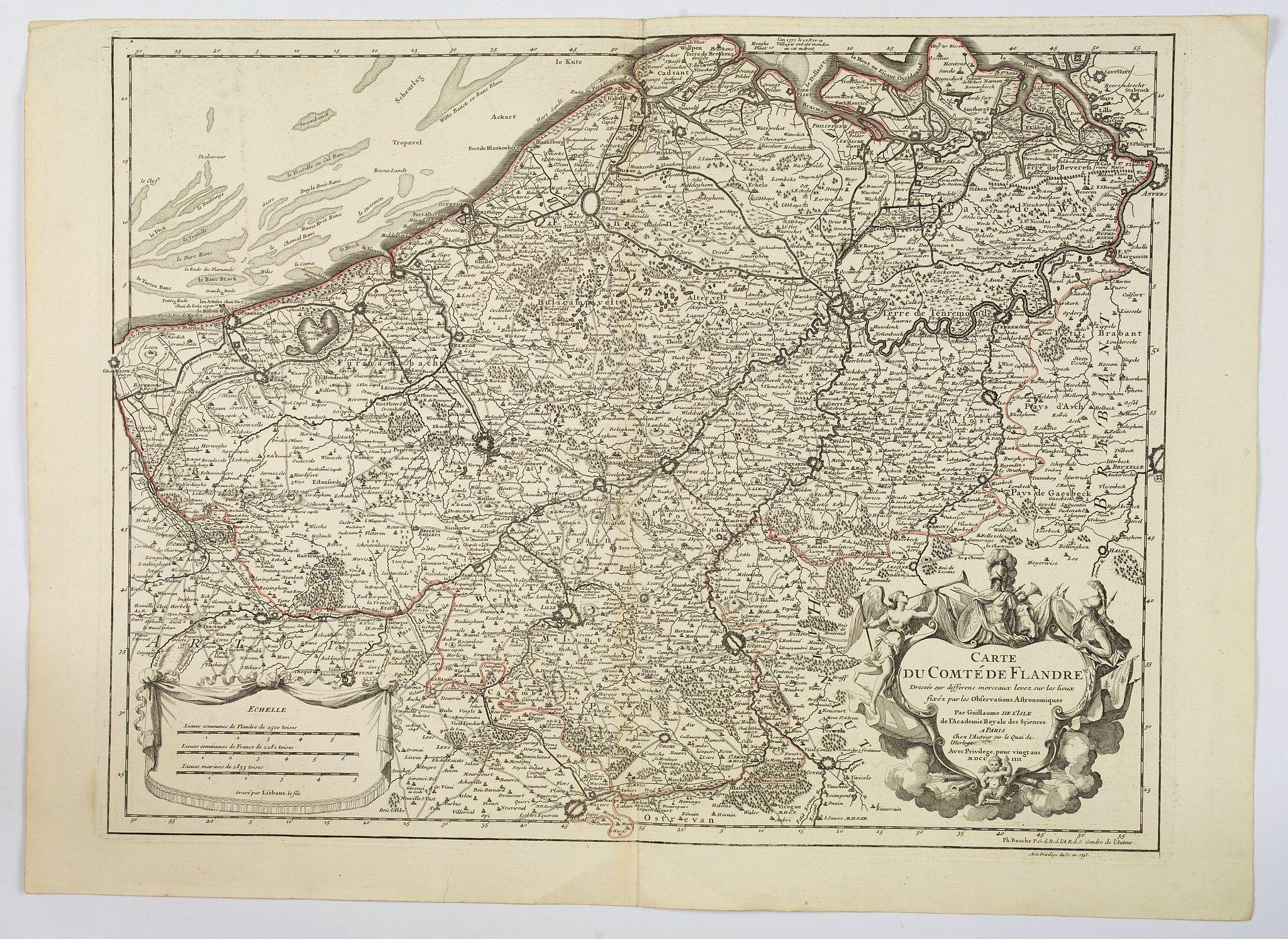 DELISLE / BUACHE / DEZAUCHE. -  Carte du Comte de Flandre. . .