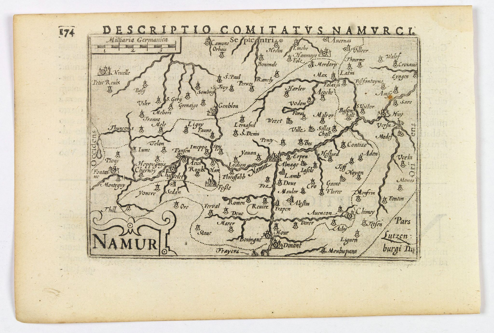 LANGENES, B. / BERTIUS, P.,  Namur., antique map, old maps