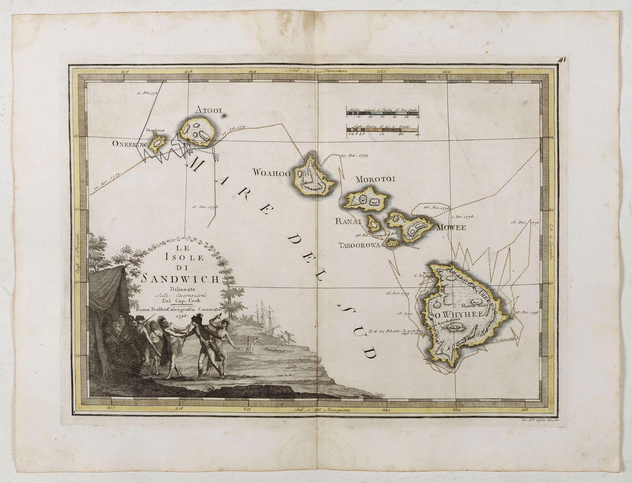 CASSINI, G.M. -  Le Isole di Sandwich delineate sulle osservazioni del Cap Cook. [Hawaii]