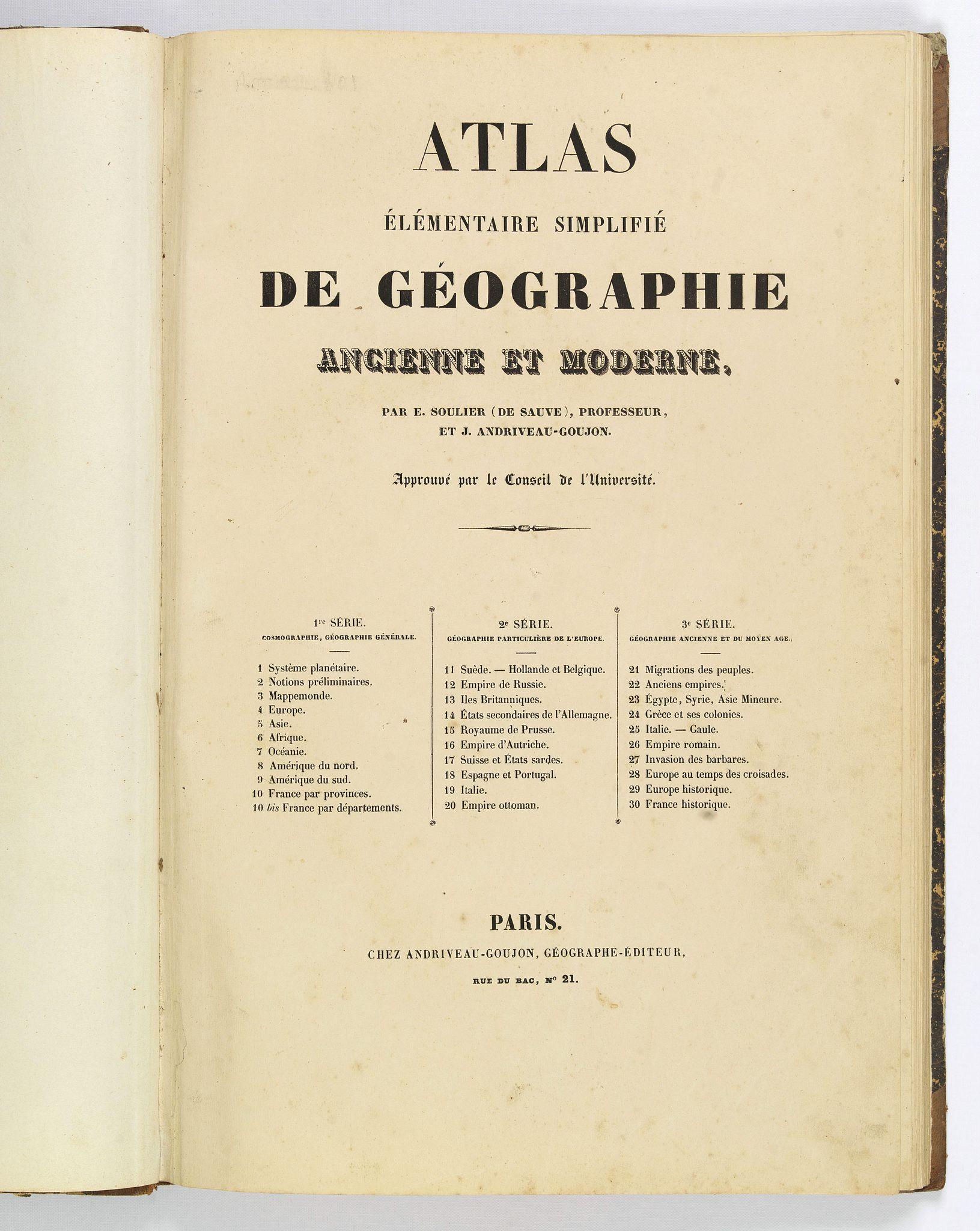 ANDRIVEAU-GOUJON. - Atlas elementaire simplifie de geographie ancienne et moderne.