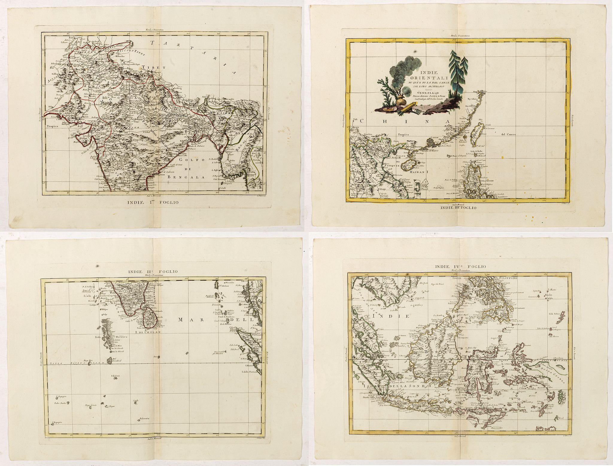 ZATTA, A. -  Indie Orientali di Quà e di la Dal Gange col Loro Arcipelago. [Set of 4 maps]