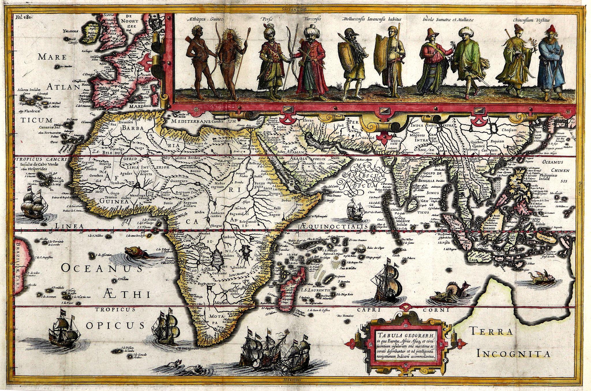 HONDIUS, Jodocus. - Tabula Geographica in qua Europae, Africae Asiaeque. . .