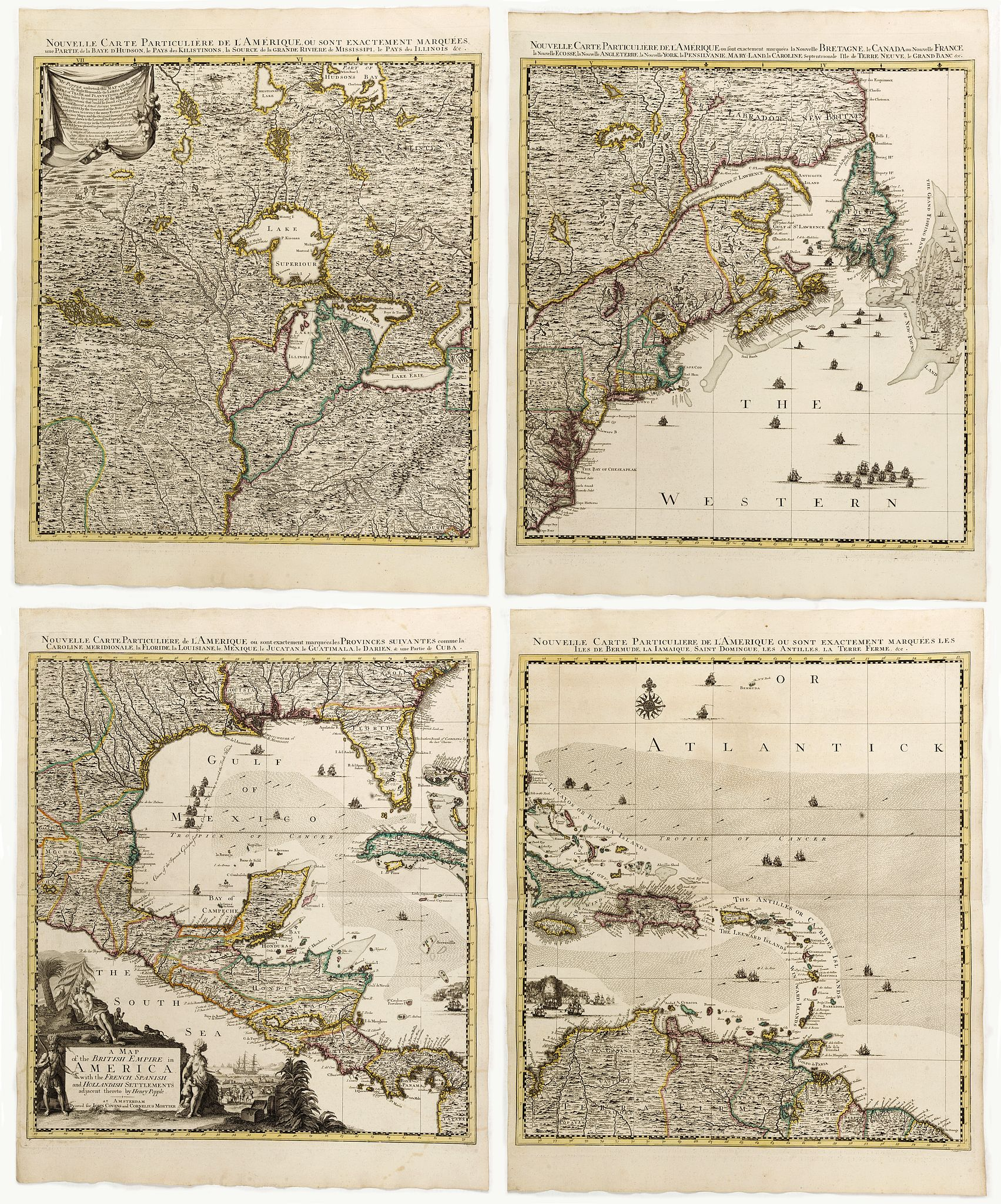 POPPLE,H / MORTIER, J.& C. -  A Map of the British Empire in AMERICA with the French, Spanish and Hollandish Settlements Adjacent Thereto. by Henry Popple. / Nouvelle Carte Particuliere de L'Amerique . . .