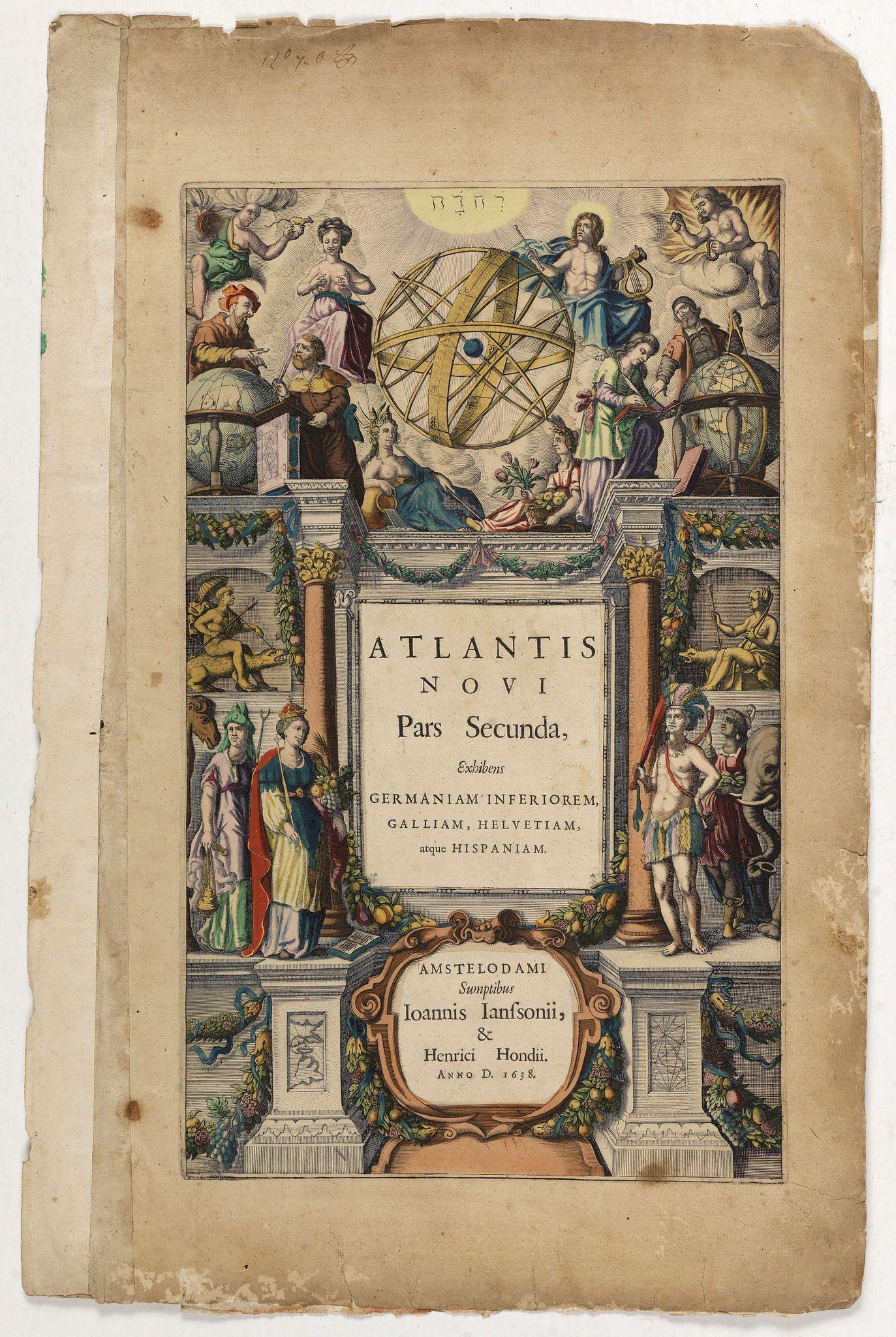 JANSSONIUS, J. / HONDIUS, H. -  [Title page] Atlantis Novi Pars Secunda, exhibens Germaniam inferiorem, Galliam, Helvetiam, atque Hispaniam.