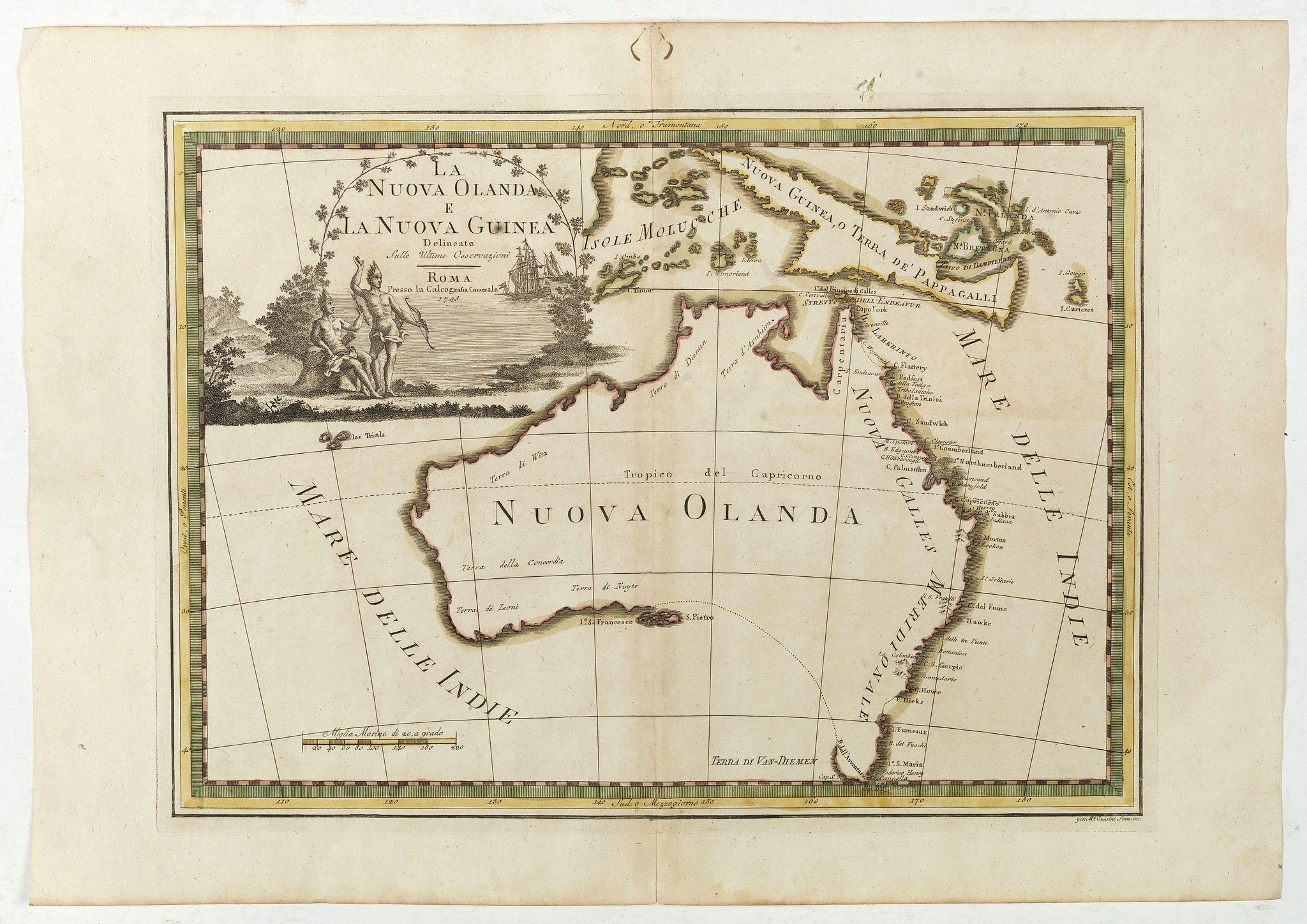CASSINI, G.M. -  La Nuova Olanda e La Nuova Guinea delineate sulle ultima osservazioni.