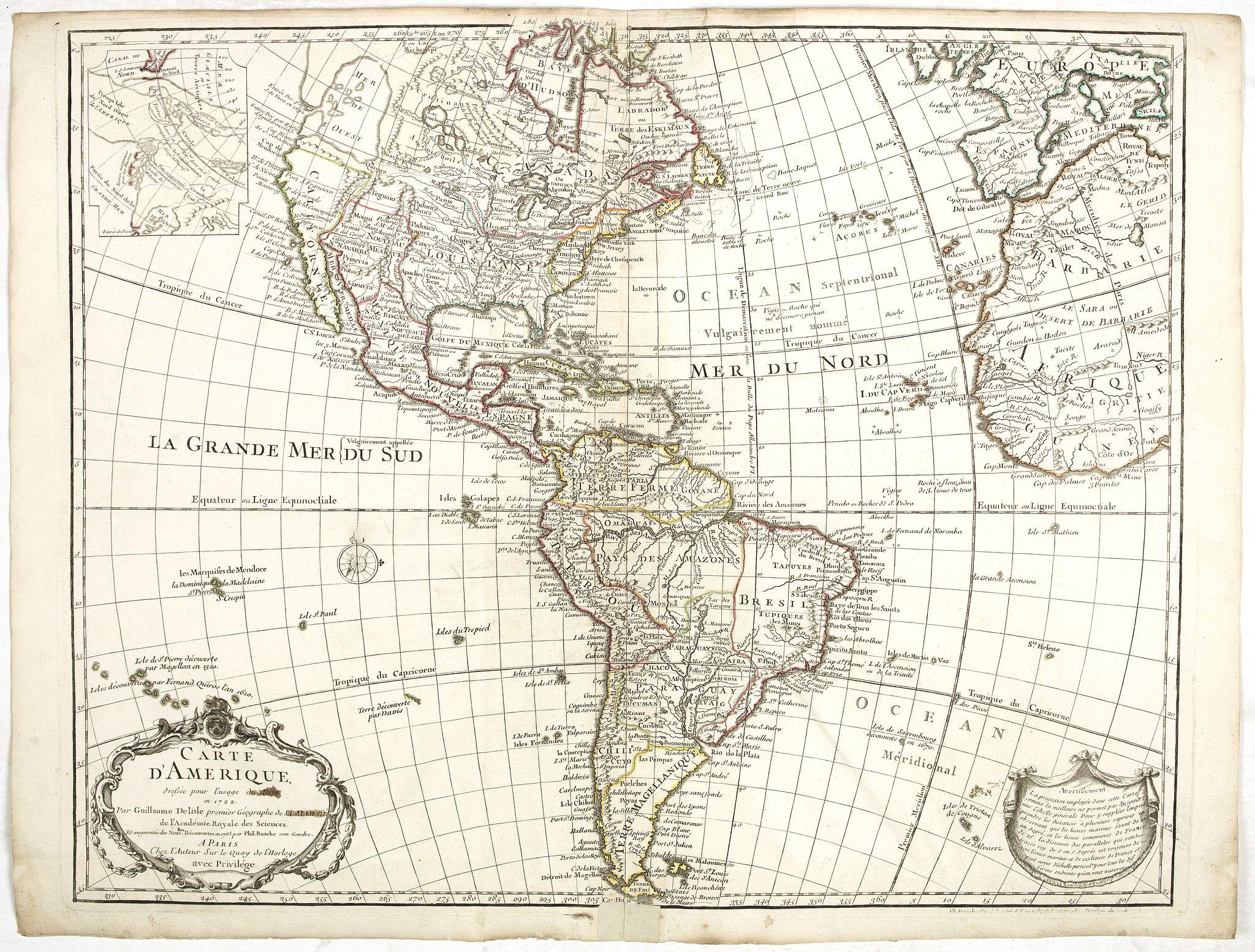 De L'ISLE/ BUACHE,Ph. -  Carte d'Amerique . . .