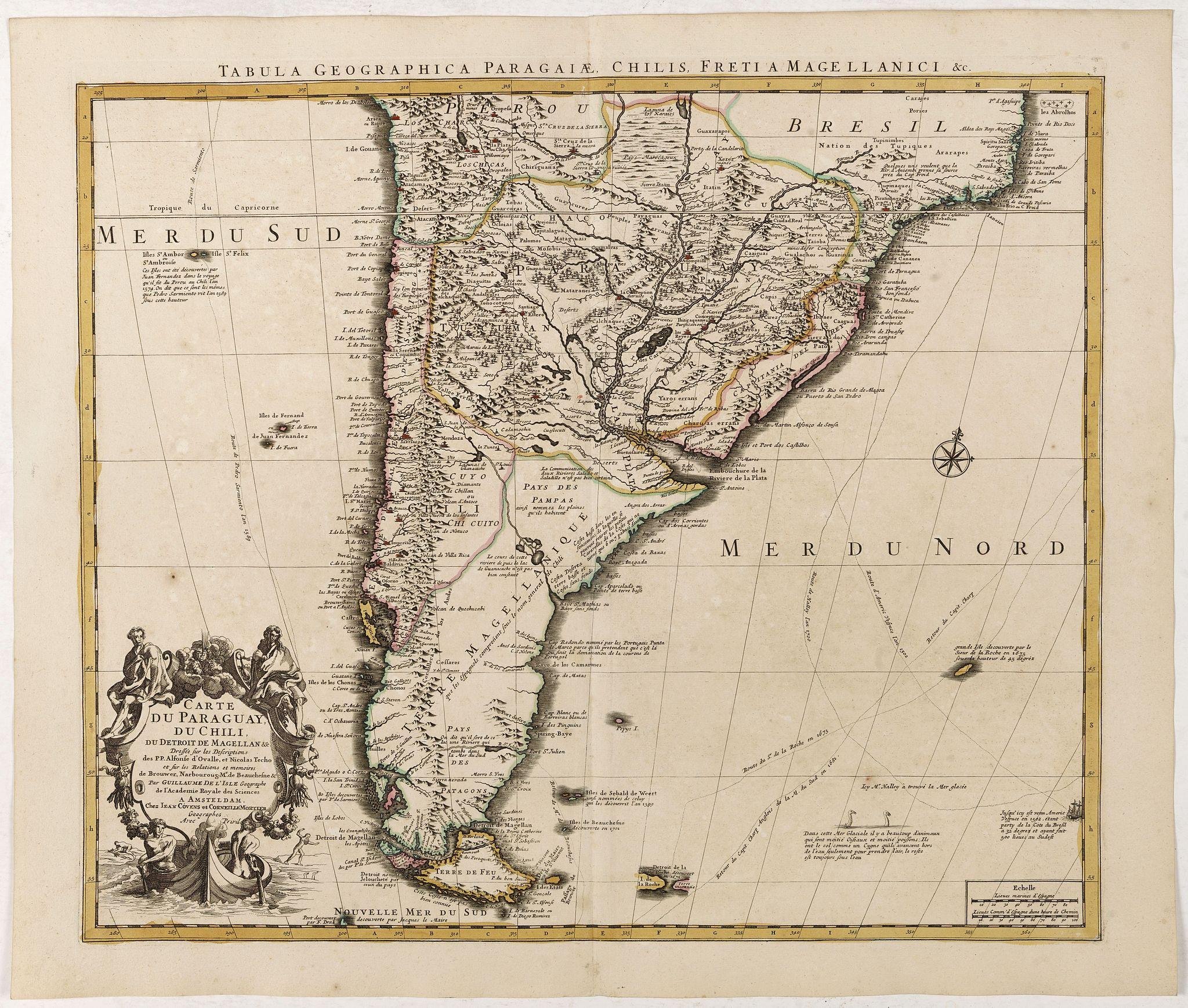 COVENS, J. / MORTIER, C. -  Carte du Paraguay, du Chili, du Detroit de Magellan &c.