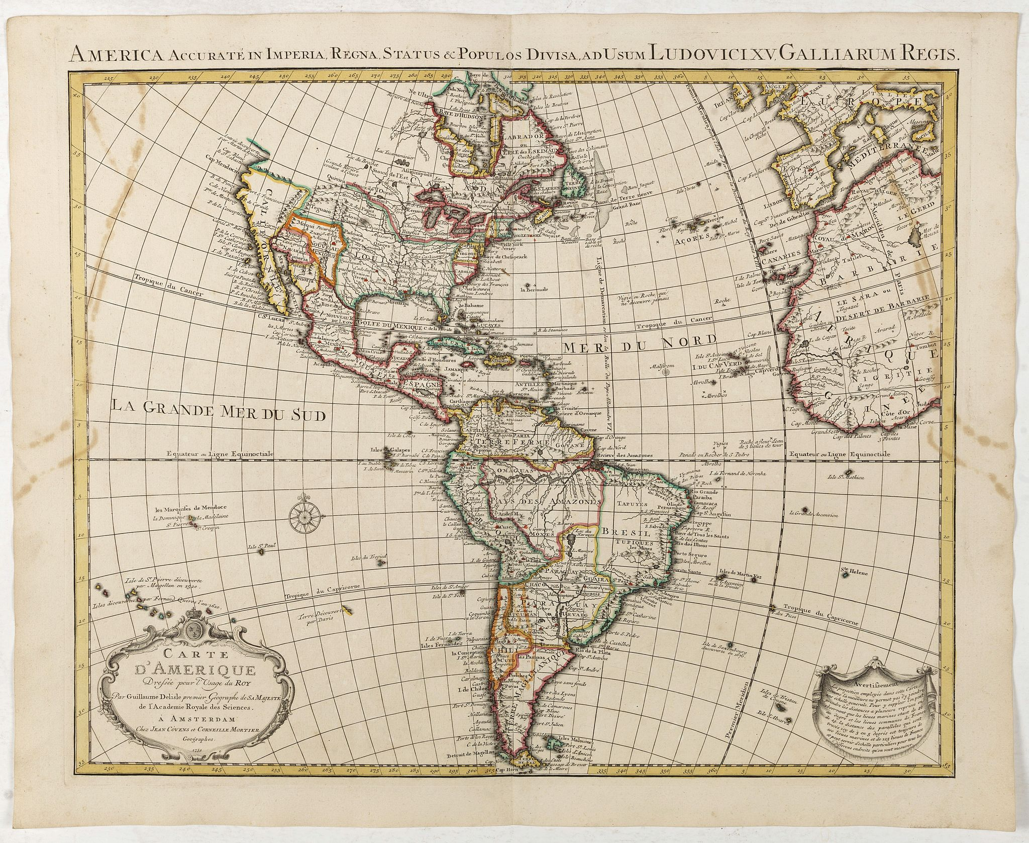 COVENS, J. / MORTIER, C. -  Carte d'Amerique dressée par l'usage du Roy..