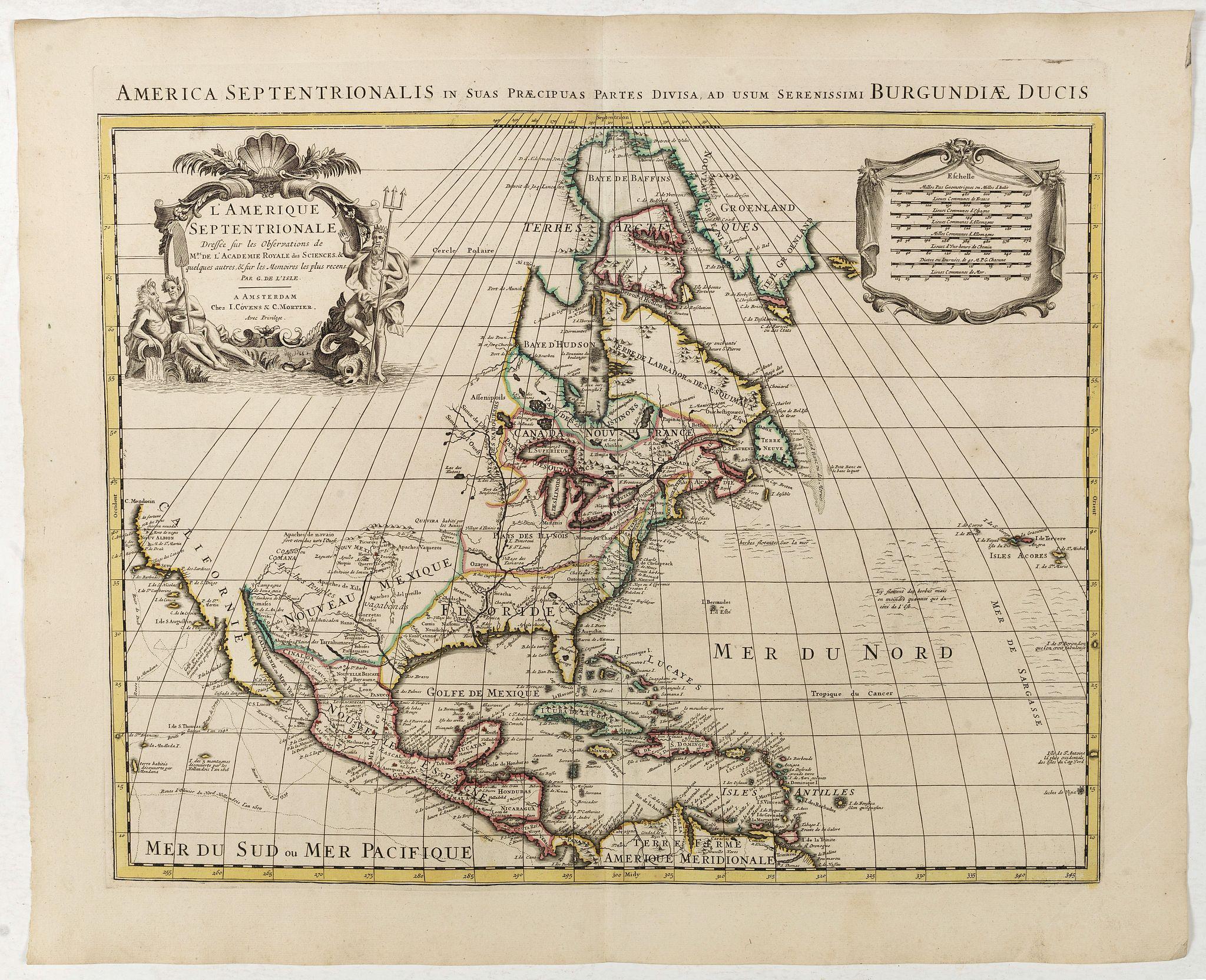 COVENS, J. / MORTIER, C. -  L'Amerique septentrionale, Dressée sur les memoires les plus recens. . .