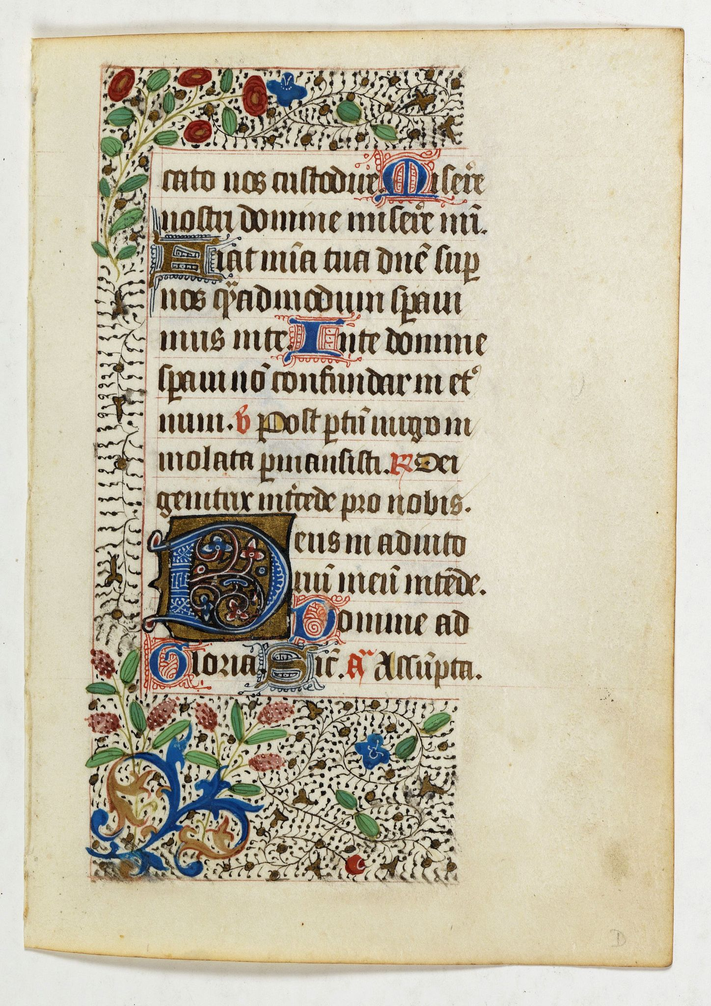 BOOK OF HOURS -  Page from a 15th. century Book of Hours.
