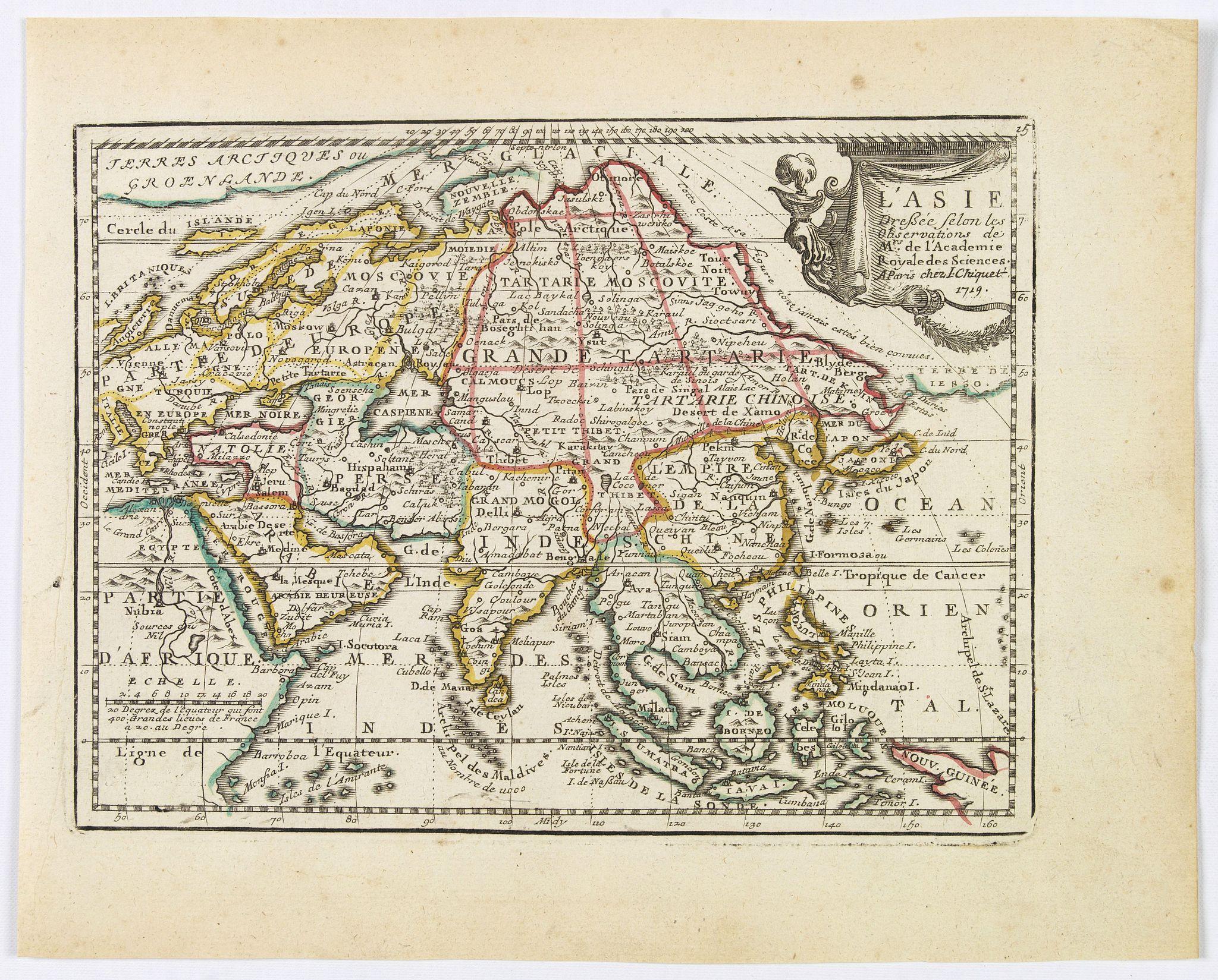 CHIQUET, J. - L' Asie Dressée Selon les Observations de Mrs. De l' Academie Royale des Sciences.