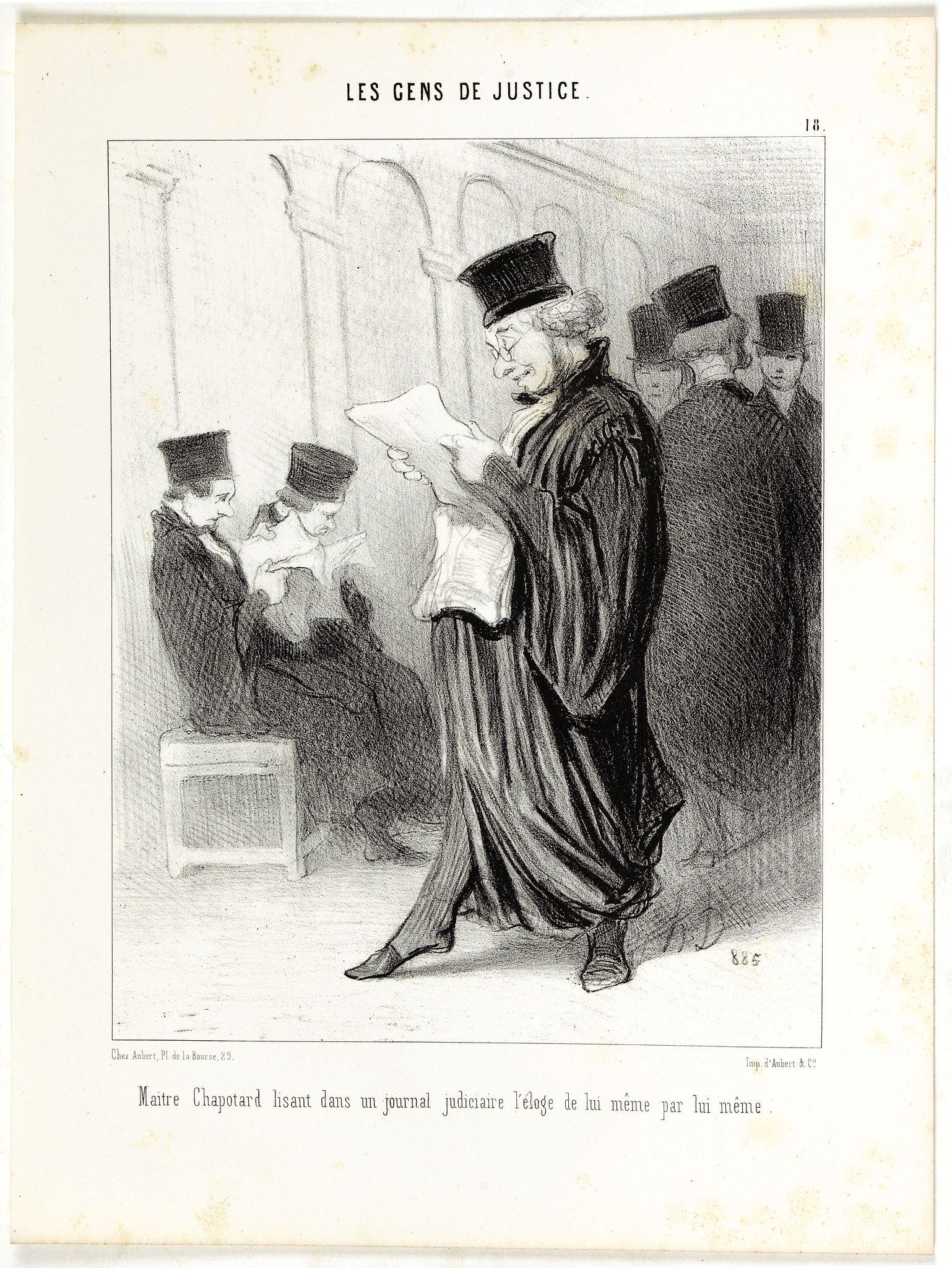 DAUMIER, H. -  Maitre Chapotard lisant dans un journal judiciaire l'éloge de lui même par lui même.