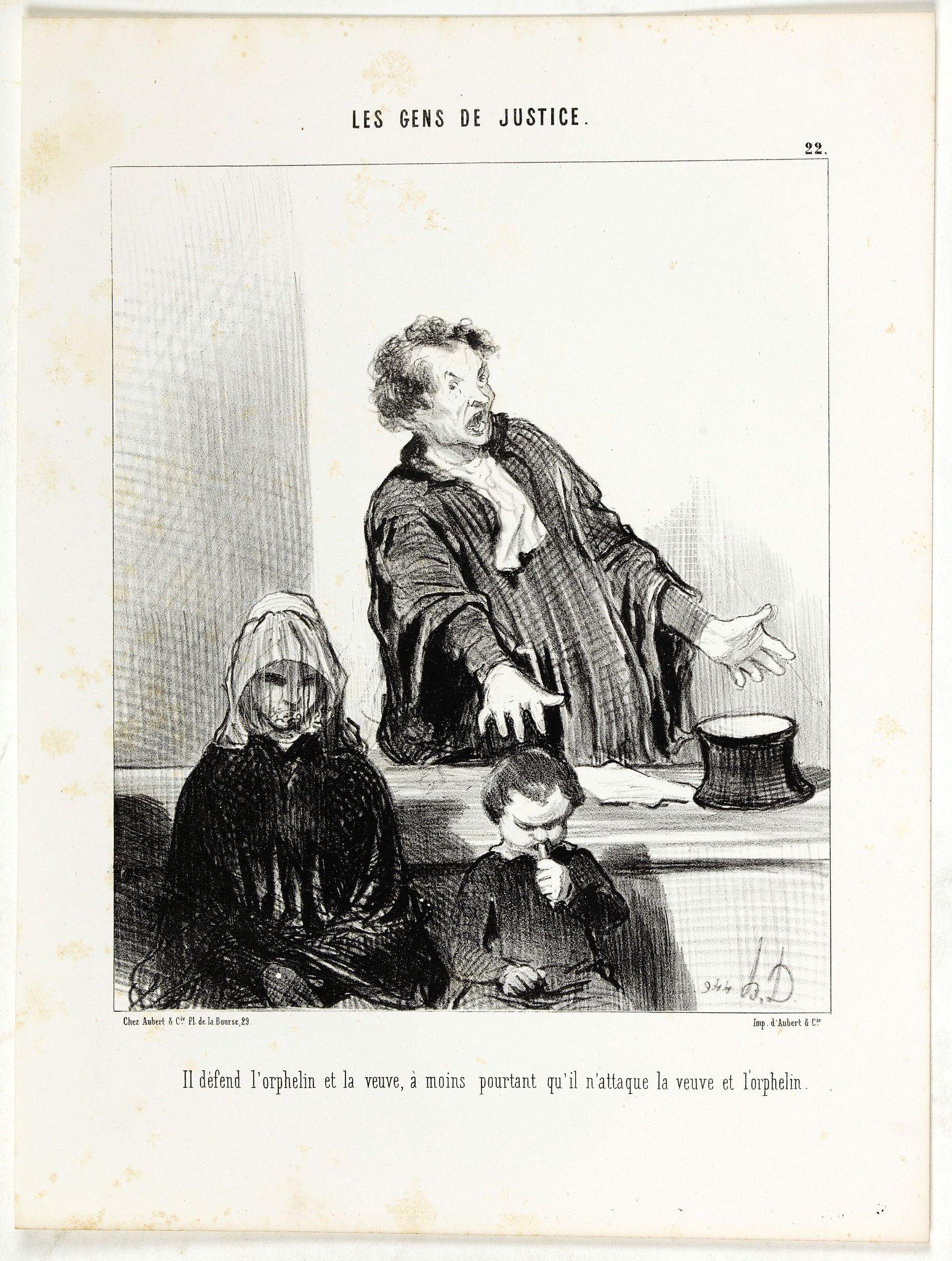 DAUMIER, H. -  Il défend l'orphelin et la veuve, à moins pourtant qu'il n'attaque la veuve et l'orphelin.
