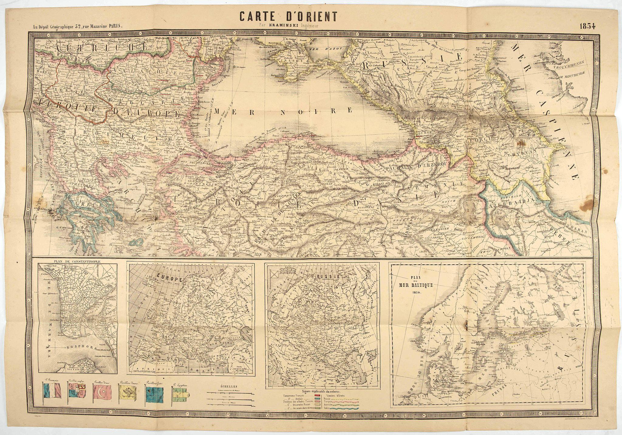 DEPOT GEOGRAPHIQUE -  Carte d'Orient par Kraminski ingénieur.