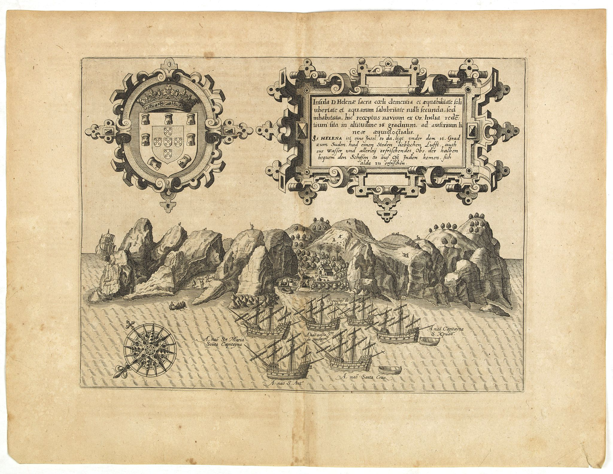 DE BRY, Th. -  Insula D.Helenae sacra coeli Clementia . . .