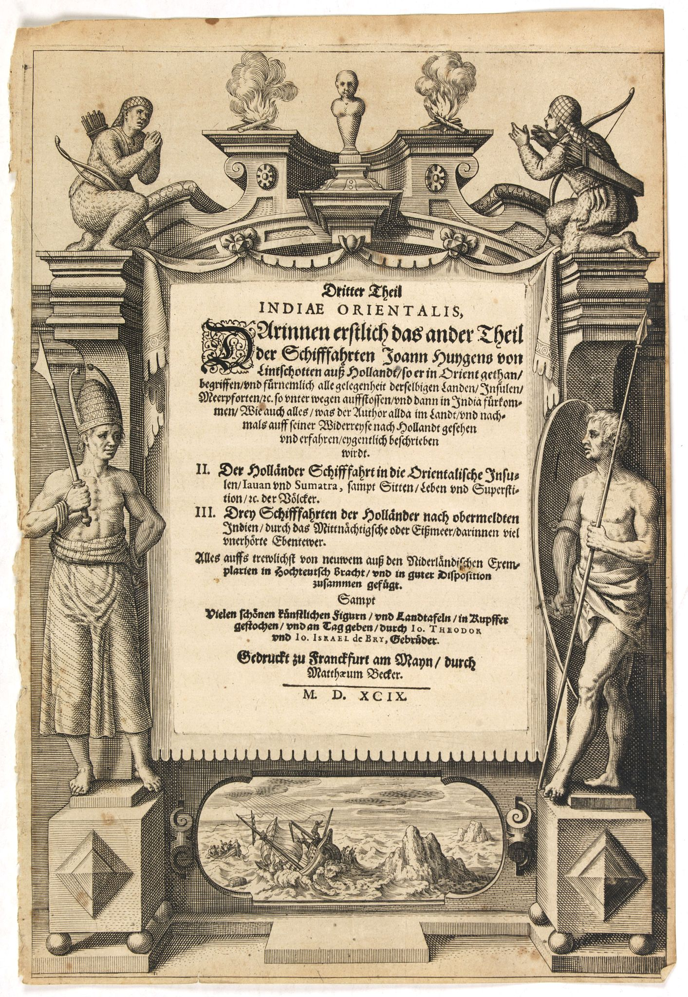 DE BRY, Th. -  Dritter Theil Indiae Orientalis . . . [Title page]