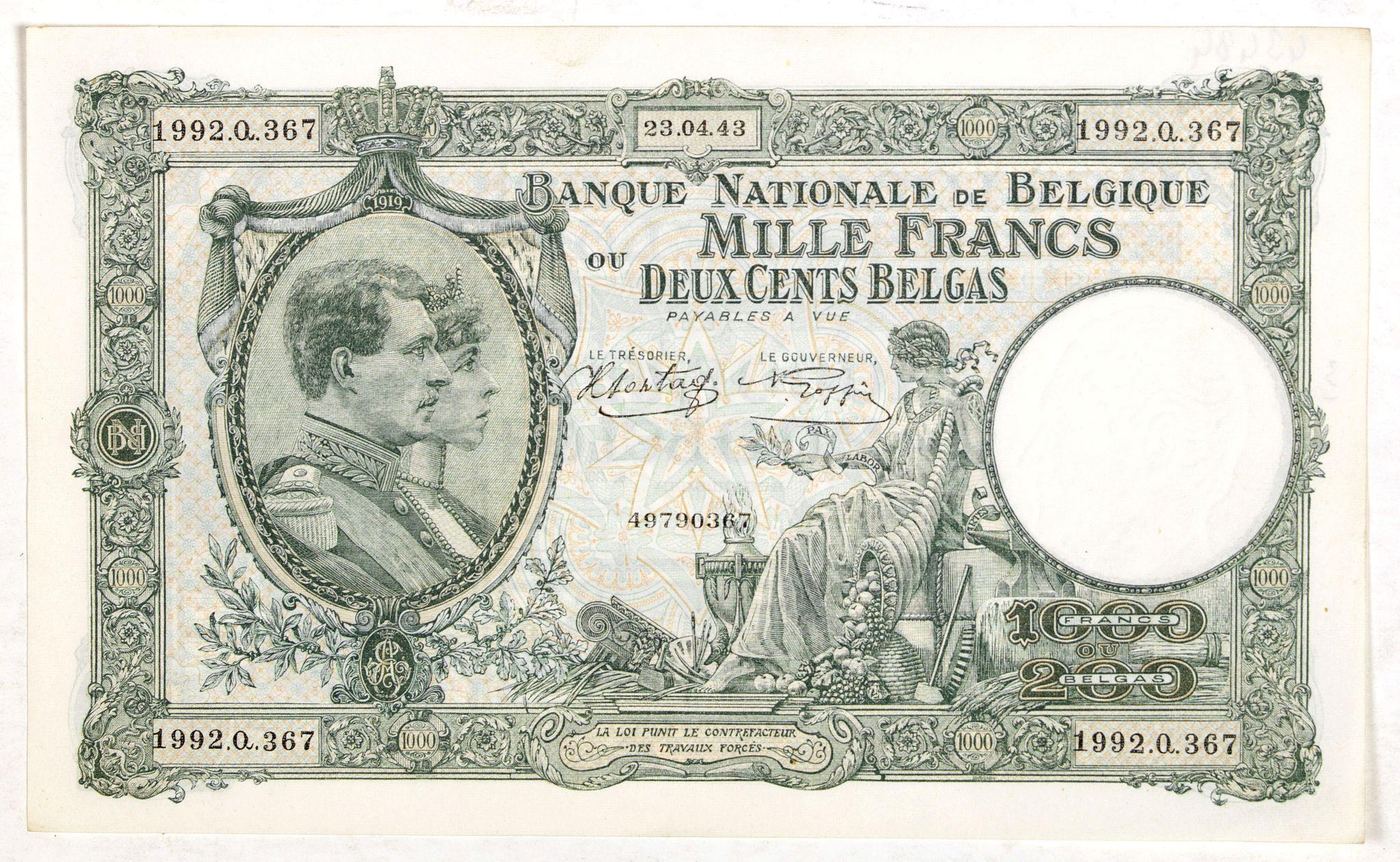 BANQUE NATIONALE DE Belgique -  1000 Francs ou 200 Belgas (Belgian bank note)