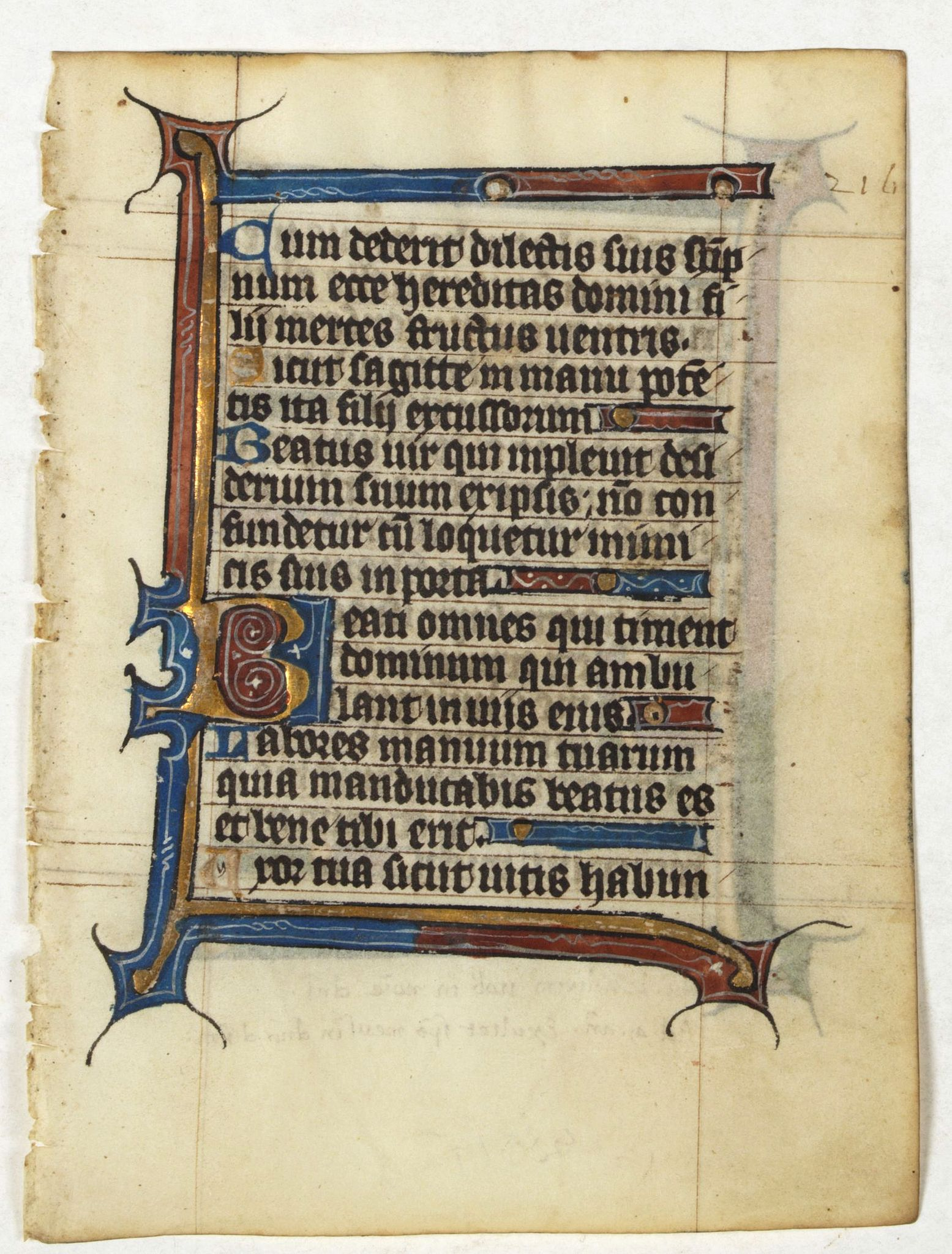 PSALTER -  Manuscript leaf from a very early [around 1300] Breviary.