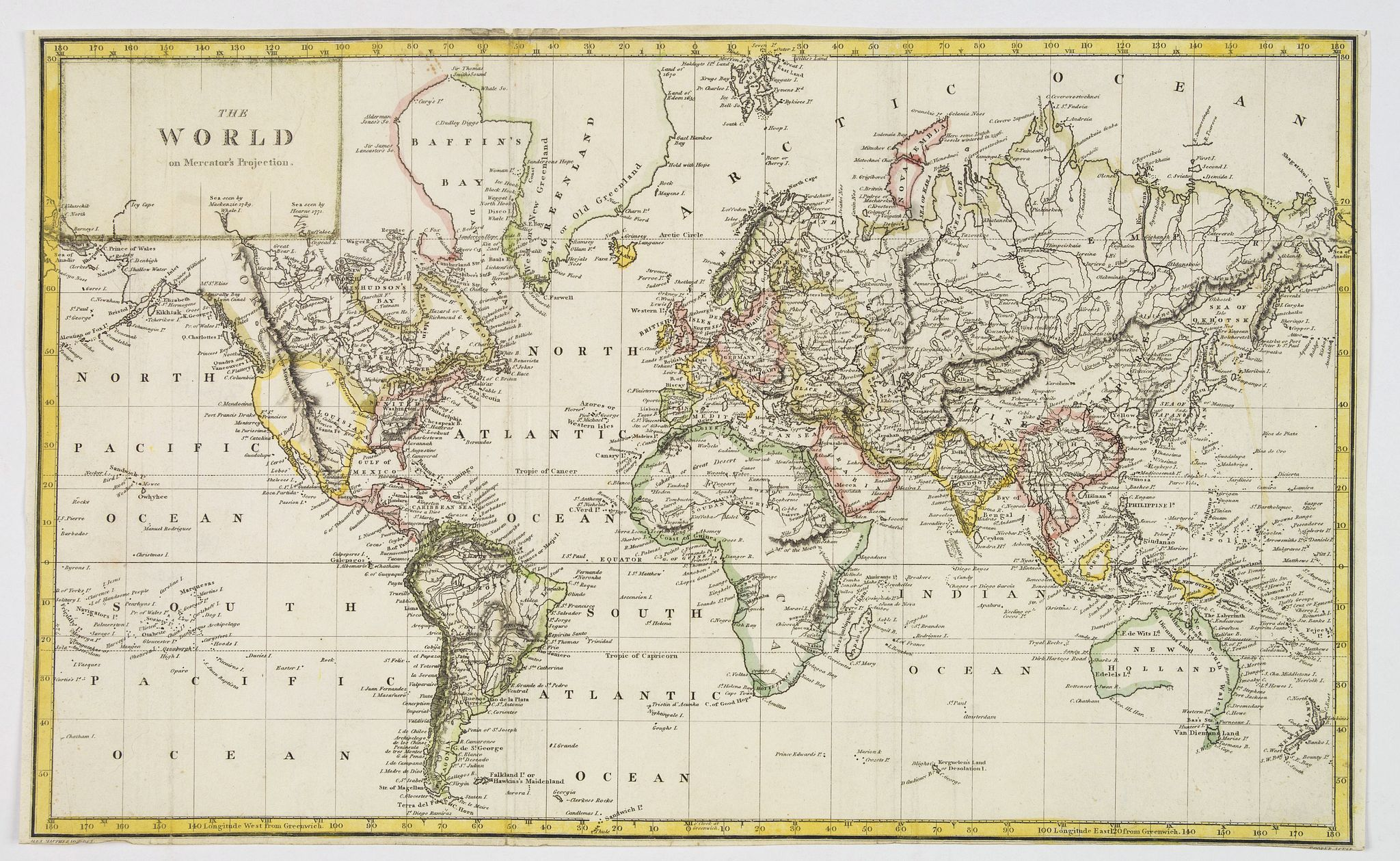 ANONYMOUS. - The World on Mercator's Projection.