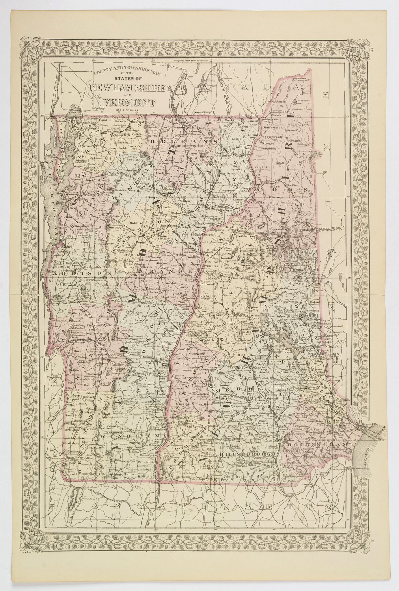 MITCHELL, S.A. - County and Township Map of the States of New Hampshire and Vermont.