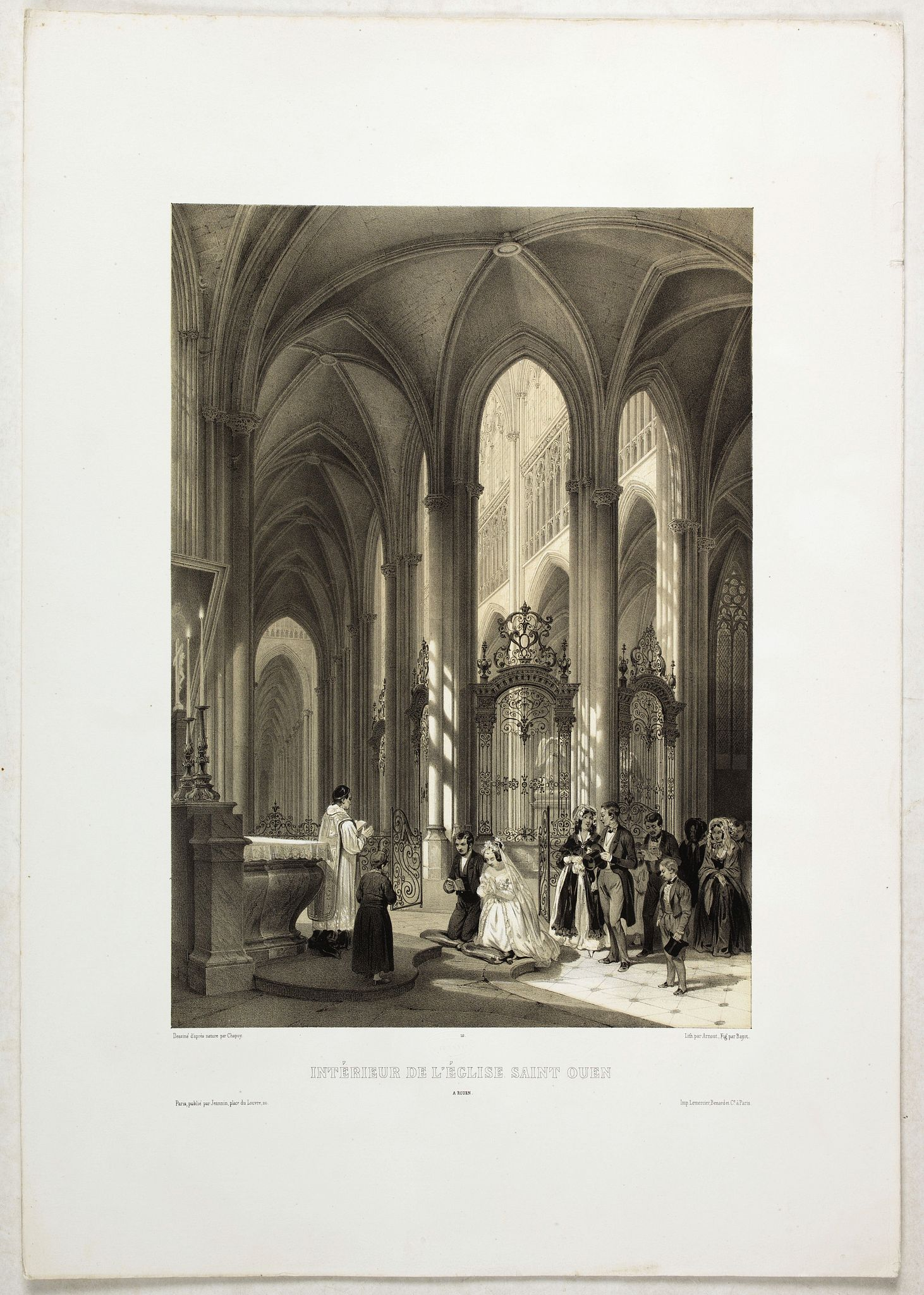 CHAPUY -  INTERIEUR DE L'EGLISE SAINT OUEN A ROUEN. Dessiné d'après nature par Chapuy. Lith. Par Arnout. Fig par Bayot.