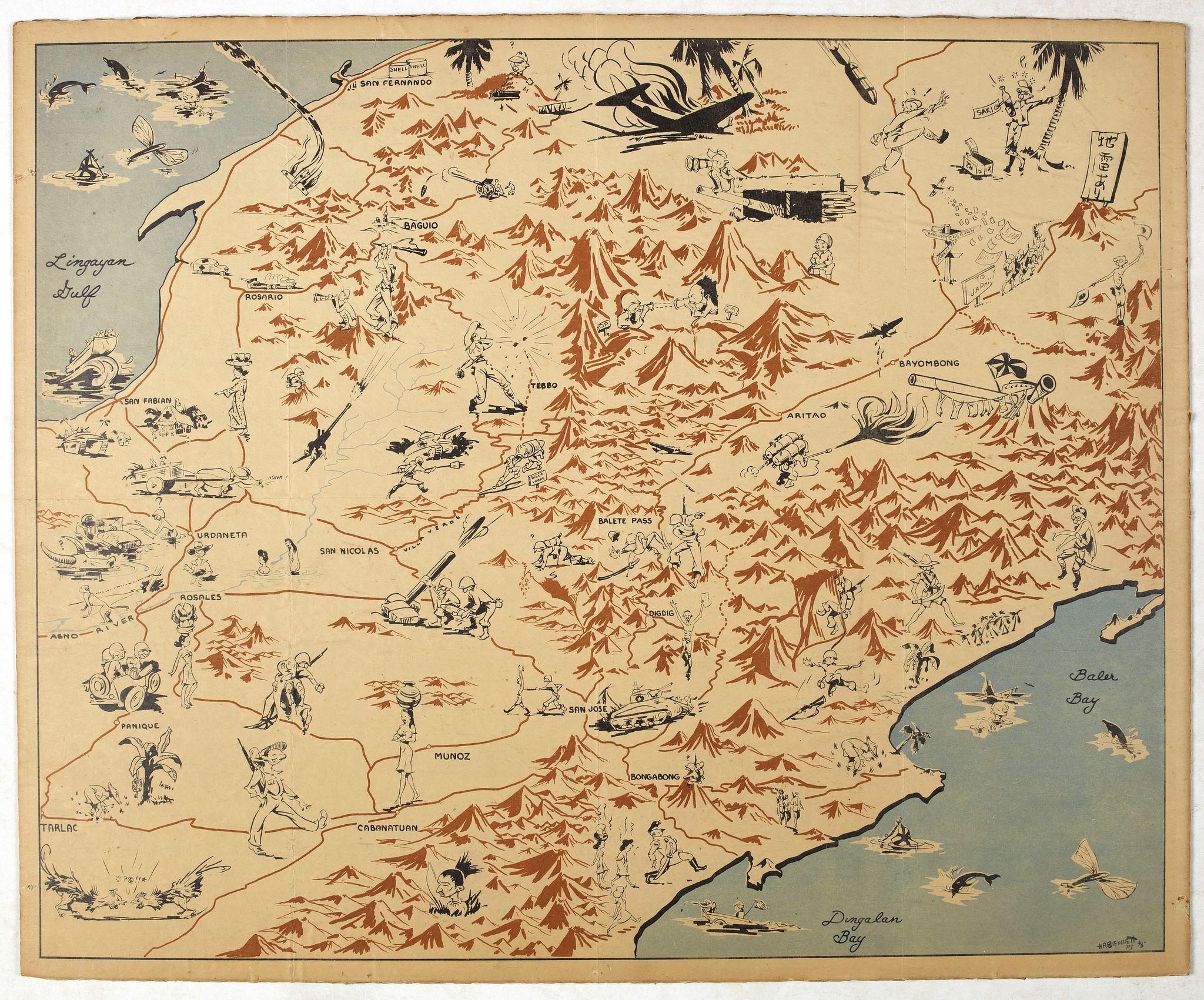 BIENNETT -  [ Pictorial map of the Philippine battlefield ]