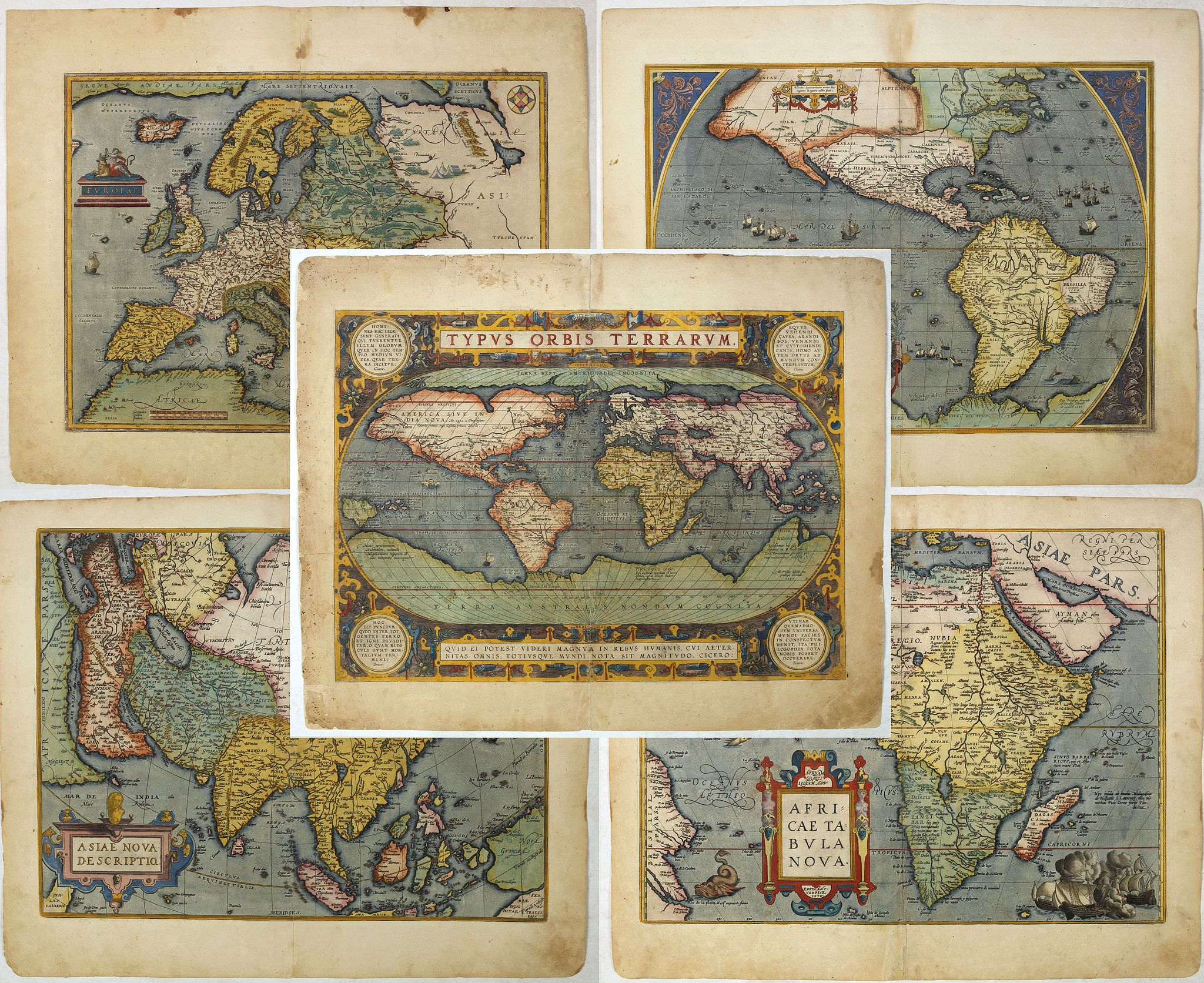 ORTELIUS, A. -  Set of world & four continents in stunning original colours.