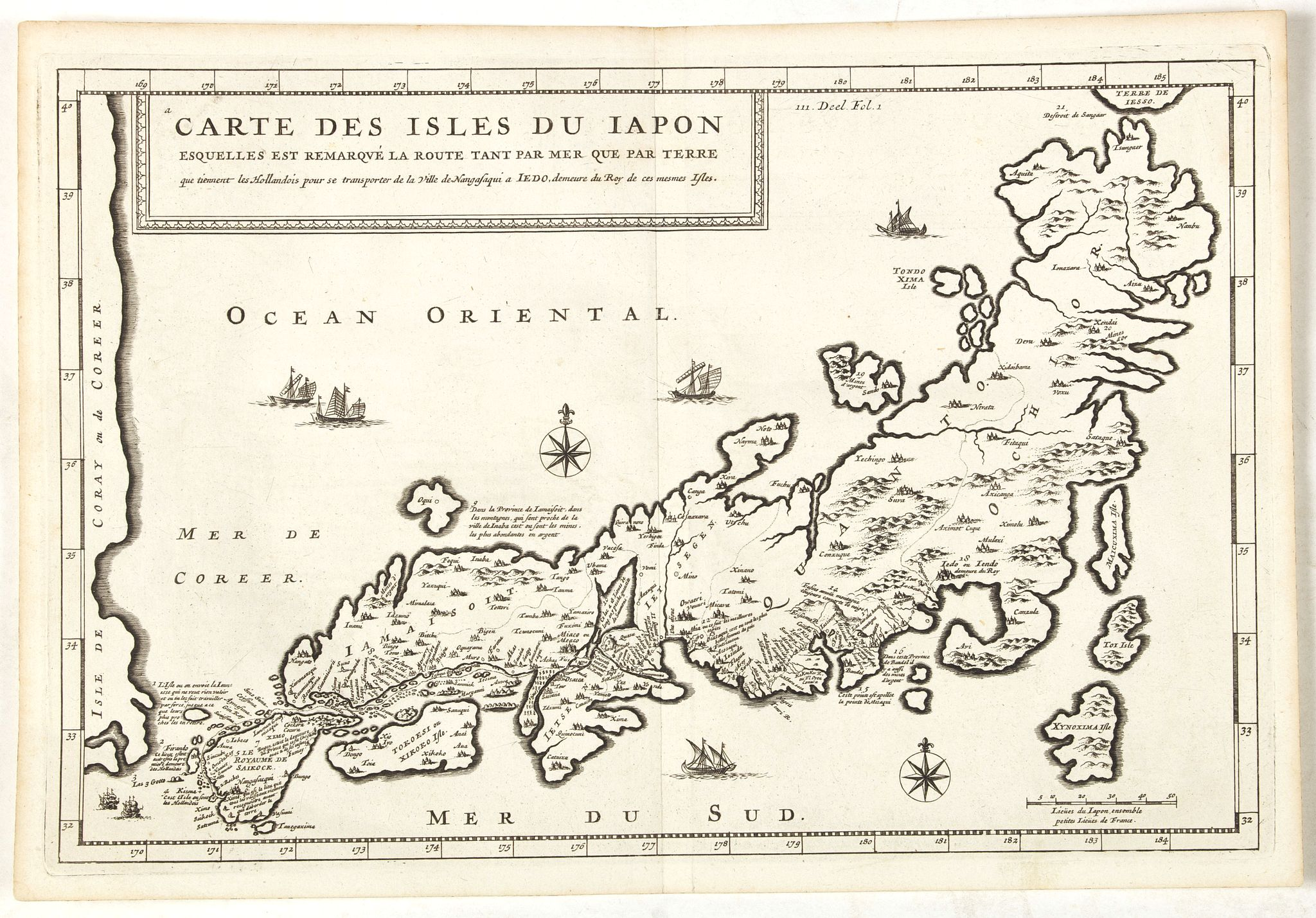 TAVERNIER, J.B. -  Carte des Isles du Japon Sequels est remarque la Route..