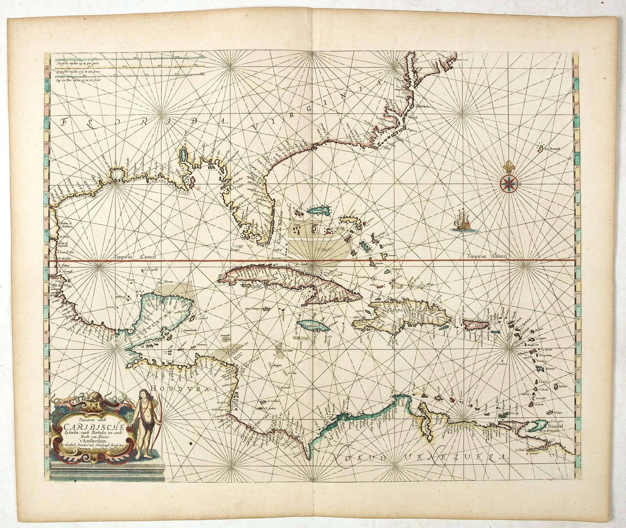 DONCKER, H. -  Pascaerte vande Caribische Eylanden, vande Barbados tot aende Bocht van Mexico 't Amsterdam By Hendrick Doncker. . .