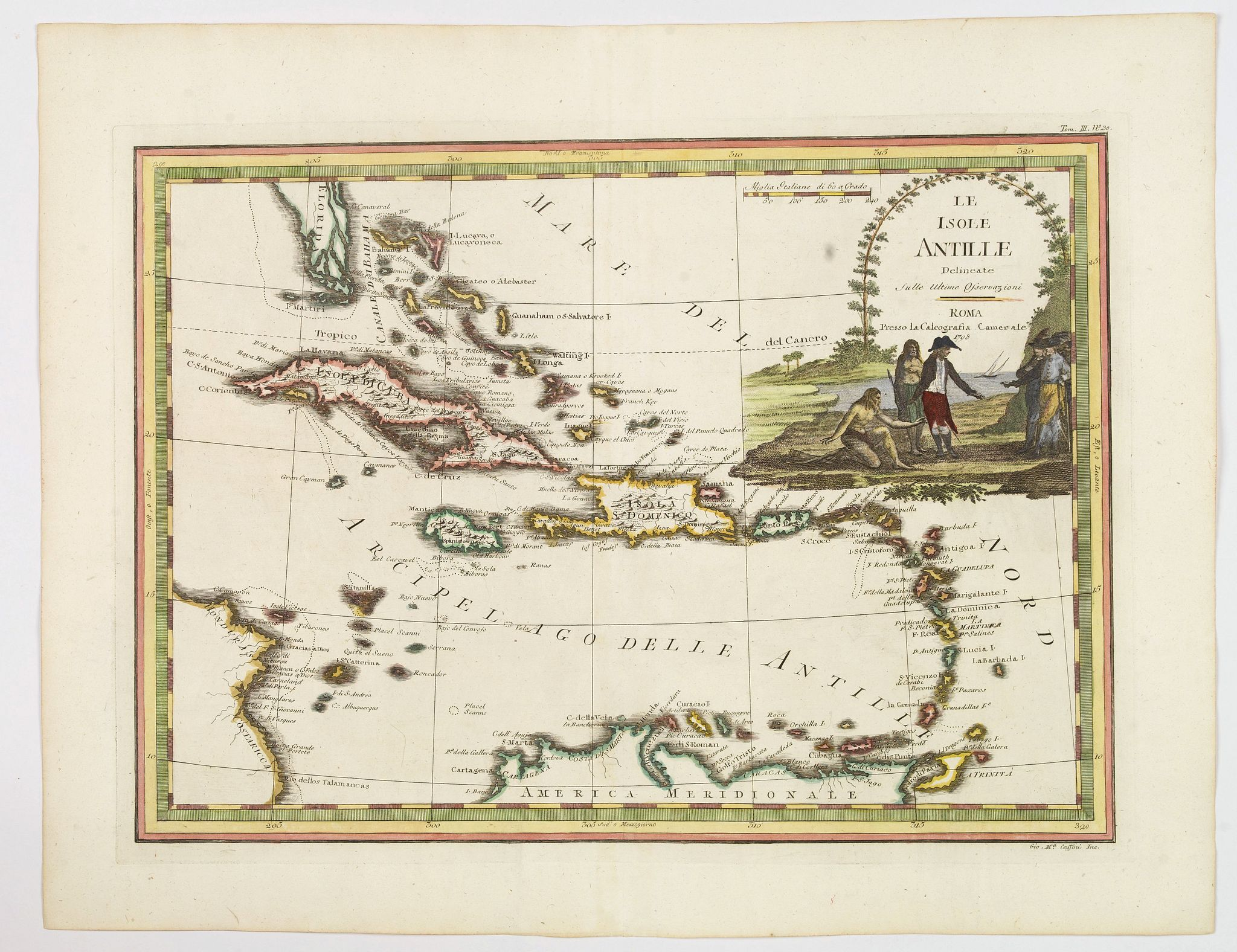 CASSINI,G.M.,  Le Isole Antille Delineate Sulle Ultime Observazioni., antique map, old maps